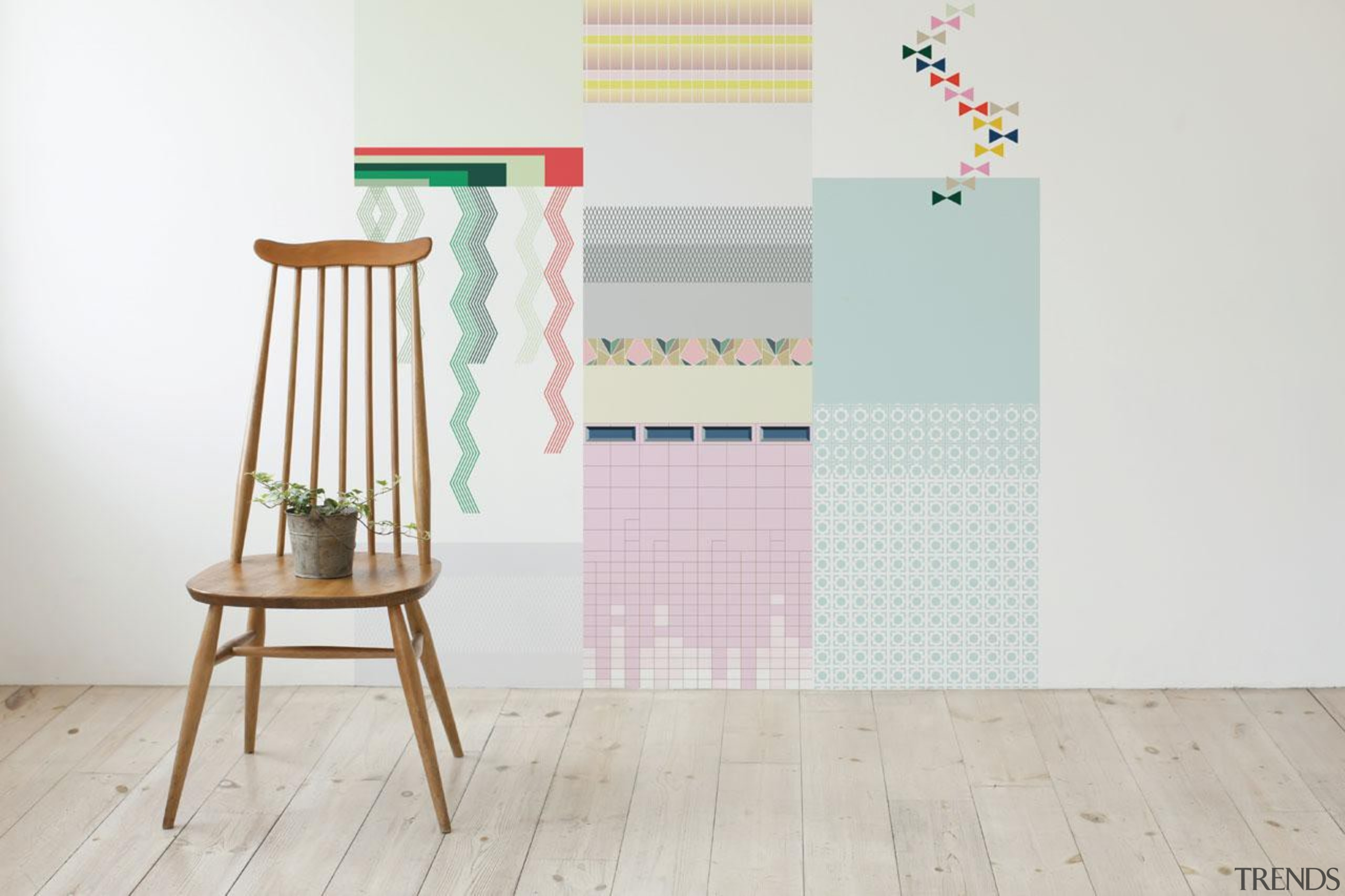 One of the challenges when putting up wallpaper chair, floor, flooring, furniture, product, product design, shelf, table, wood, white, gray
