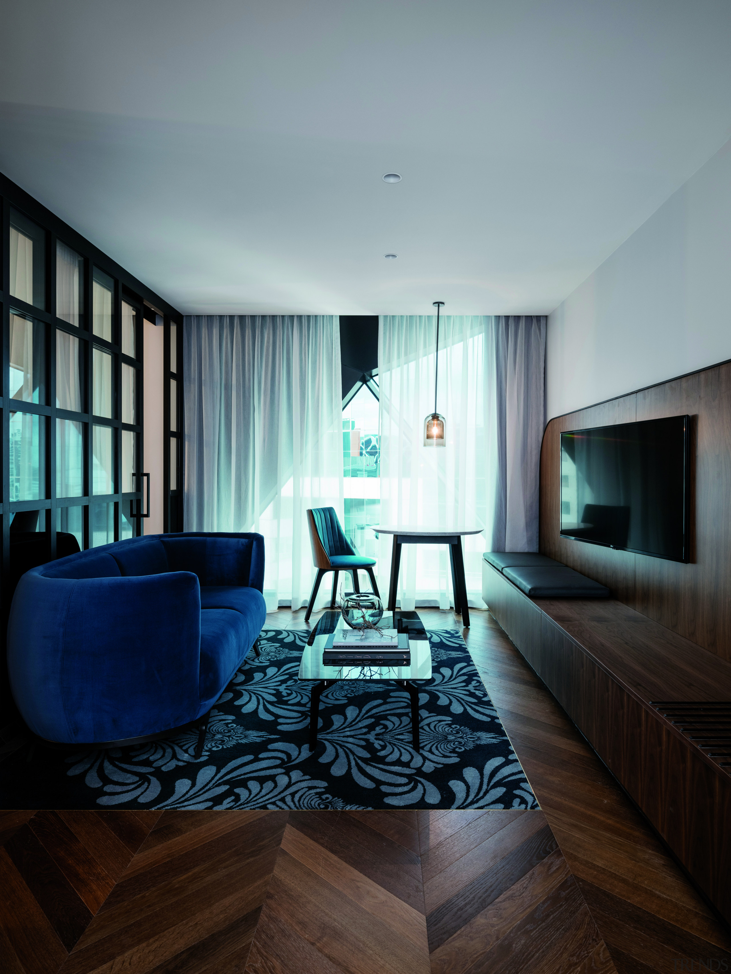 Suites at West Hotel, Sydney, are finished with architecture, ceiling, daylighting, floor, house, interior design, living room, room, table, gray, black