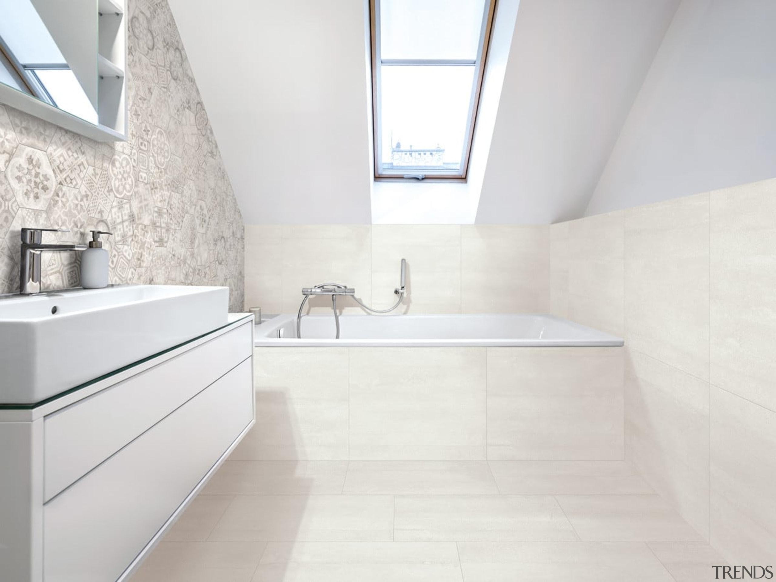 Beton Axis Hexagona Deco Mix 210x182, and Beton architecture, bathroom, daylighting, floor, flooring, interior design, property, room, sink, tap, tile, wall, white