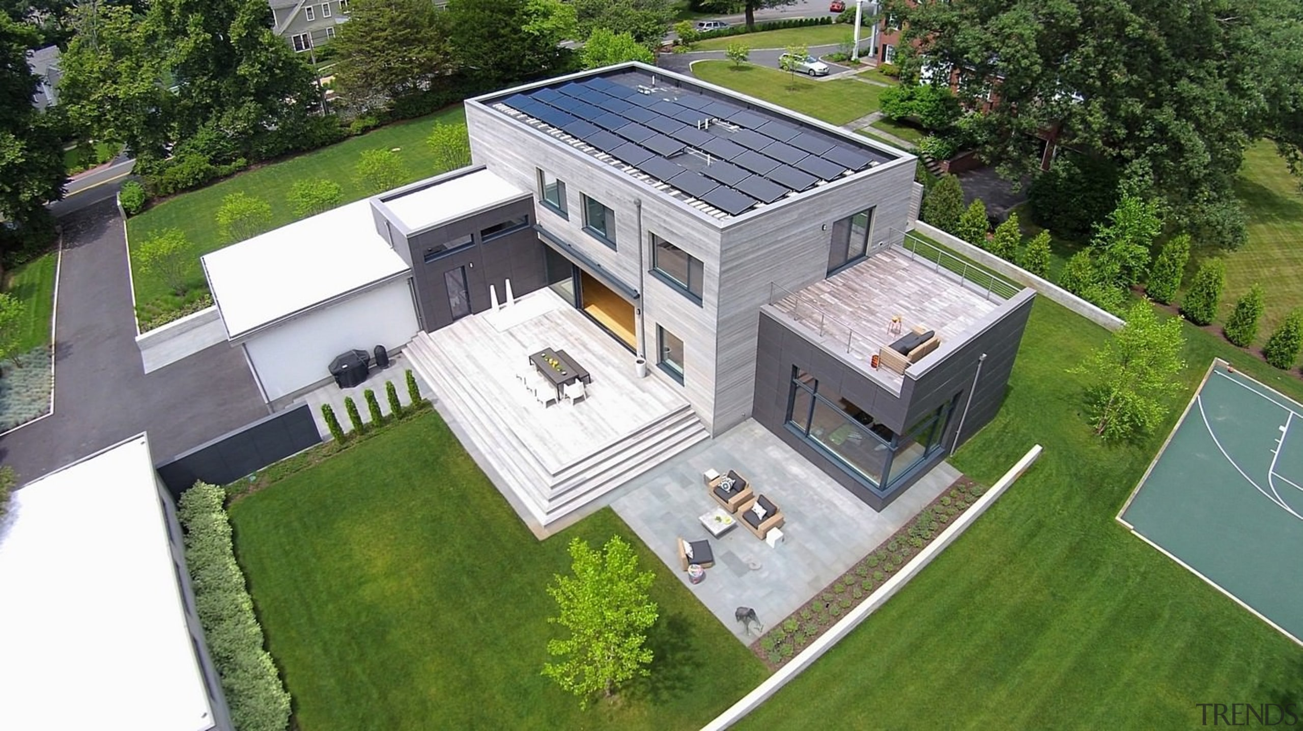 Architect: ZeroEnergy DesignPhotography by Eric Roth architecture, bird's eye view, elevation, estate, home, house, neighbourhood, property, real estate, residential area, roof, suburb, green