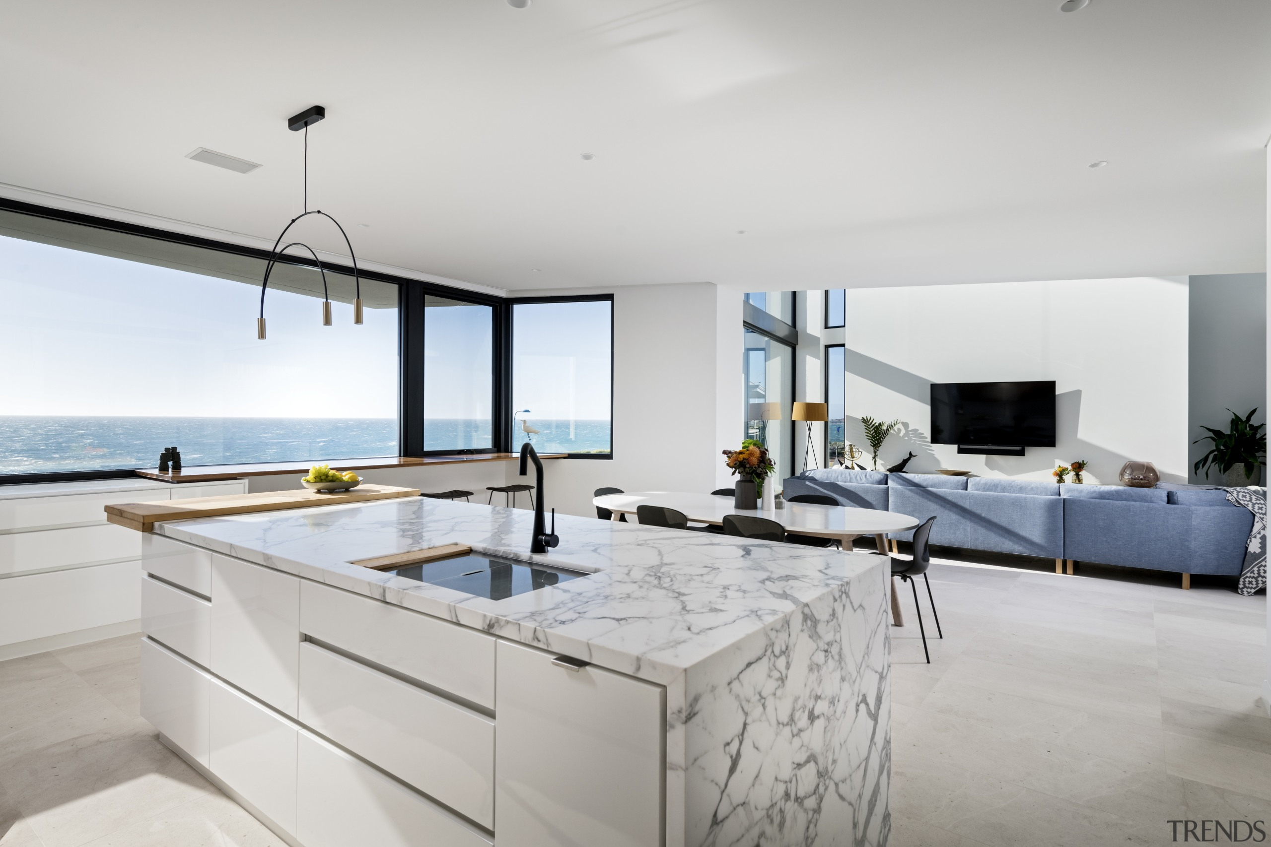 An island surrounded by sea – well it apartment, architecture, cabinetry, countertop, design, furniture, interior design, kitchen, Steve Gilosca