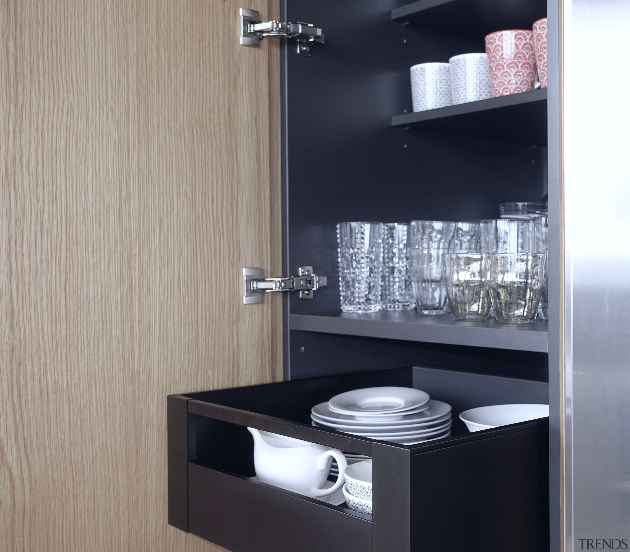 ​​​​​​​Over-extending soft-close cabinet door hinges provide for easy, Kitchen, Drawer, storeage, black, interior design, shelf, Eliska Lewis Architects