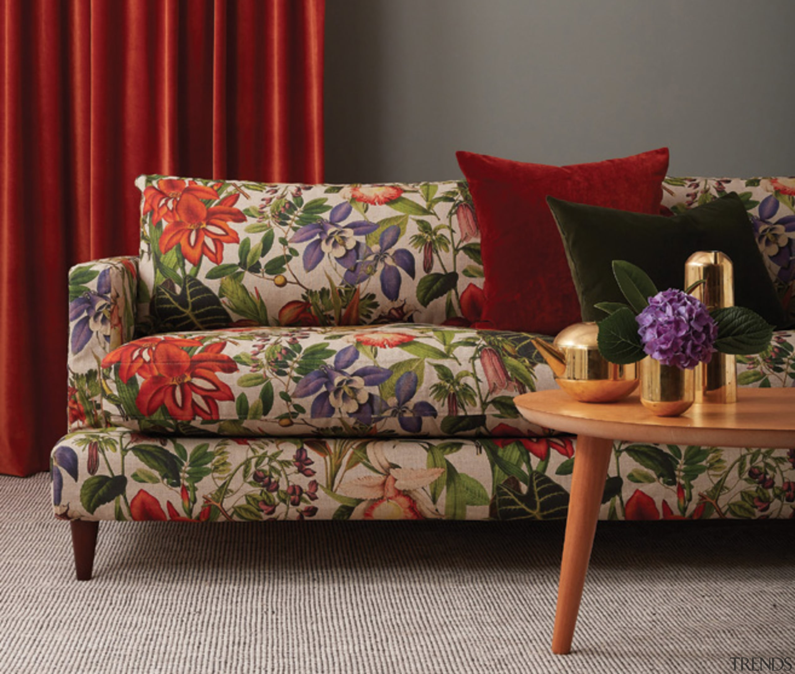 Interior design trends 2019 – what's in and chair, couch, cushion, floor, furniture, interior design, living room, loveseat, pillow, plant, room, slipcover, sofa bed, studio couch, table, textile, throw pillow, red, gray