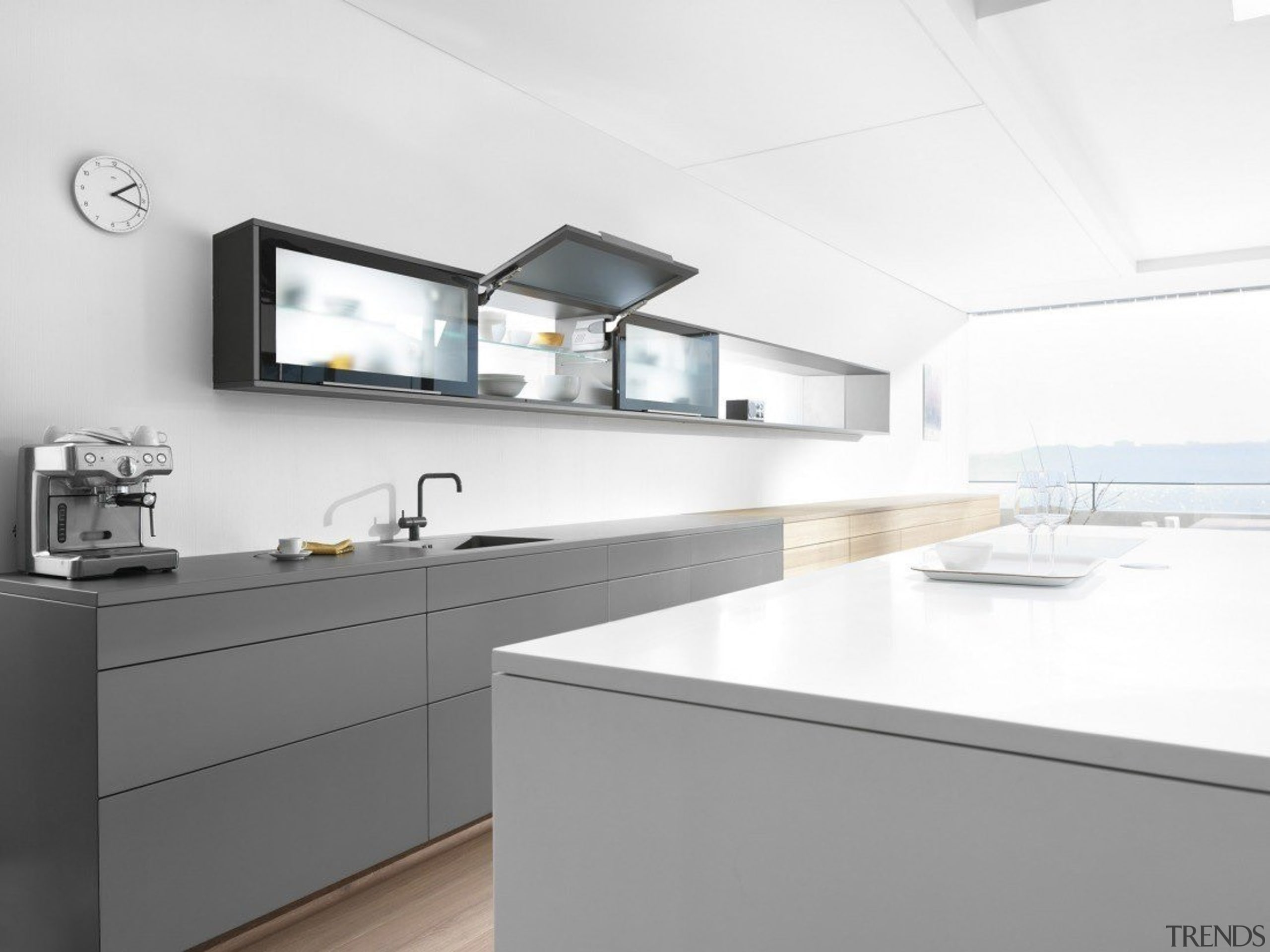 Stay Lift System - AVENTOS HK - countertop countertop, interior design, kitchen, sink, tap, white, gray