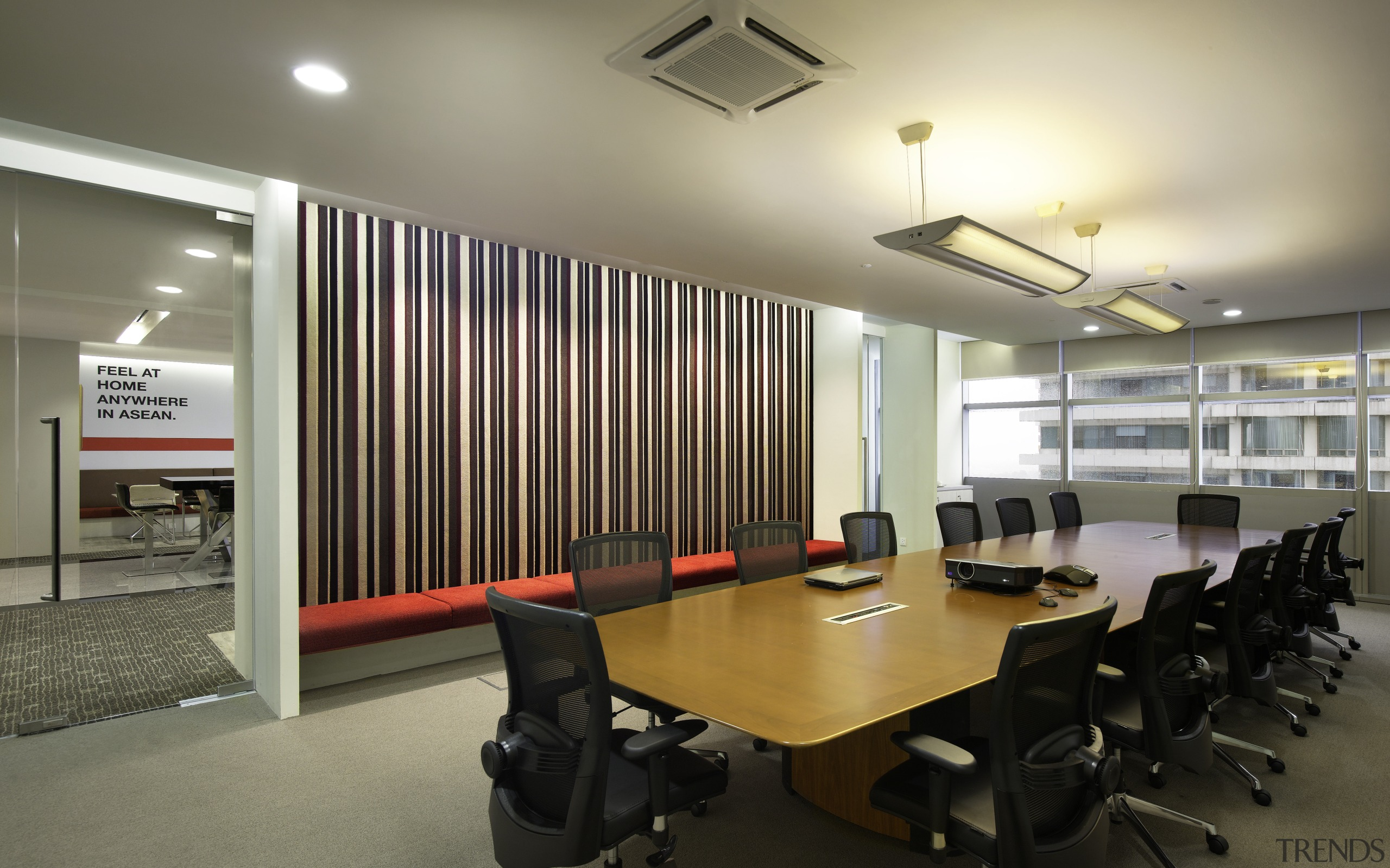 Breakout areas and meeting rooms sport touches of ceiling, conference hall, interior design, office, real estate, gray, black
