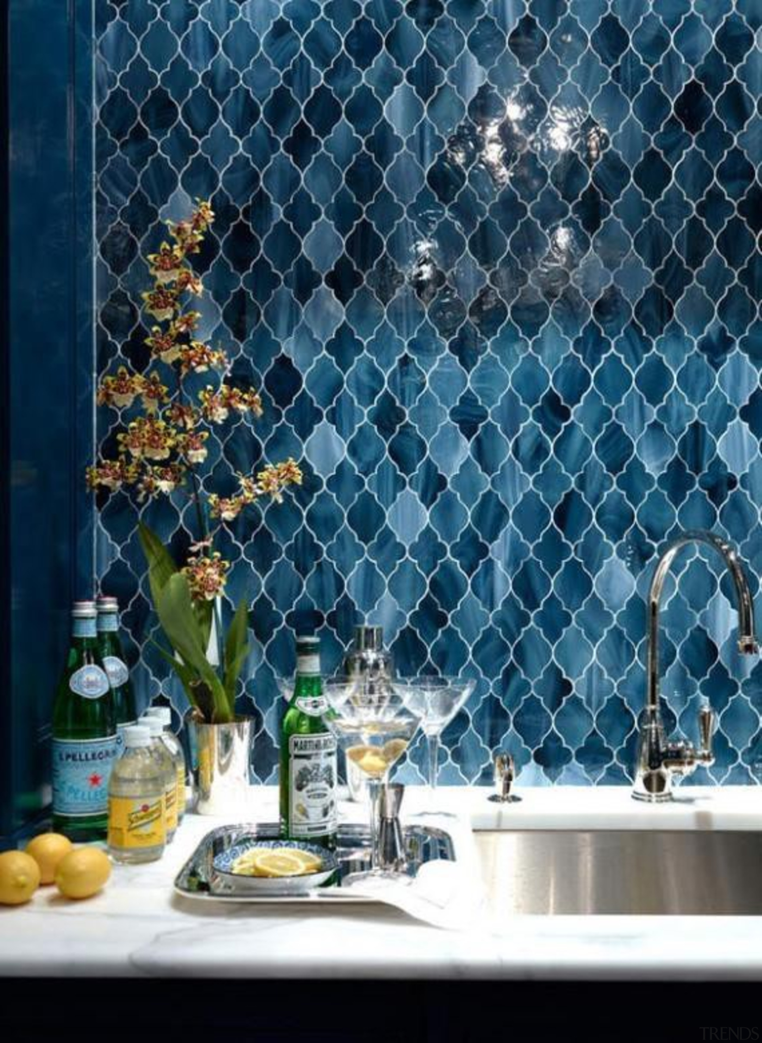 Cerulean blue backsplash - Cerulean blue - backsplash blue, glass, interior design, wall, blue, teal