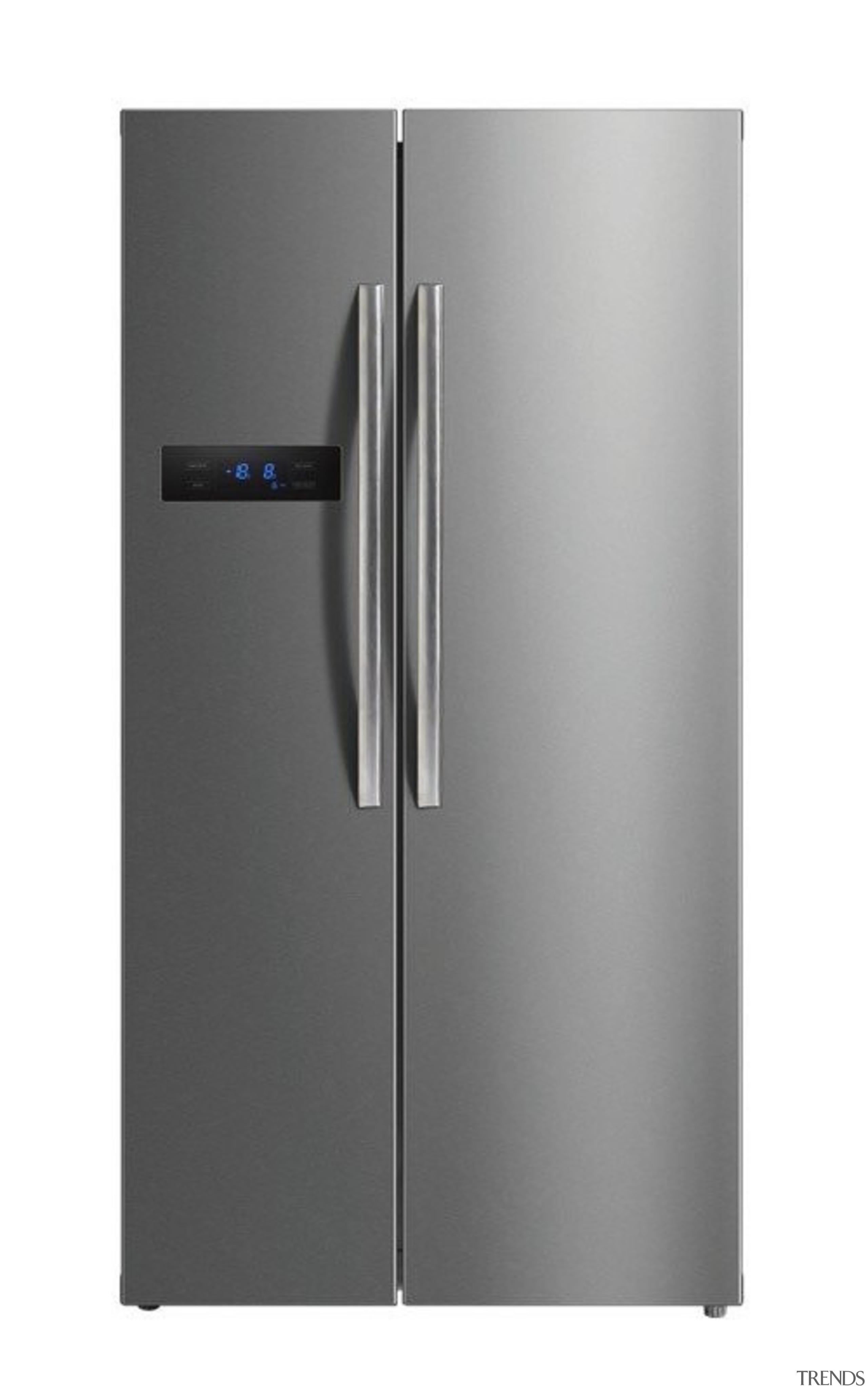 584L Side-by-Side Fridge FreezerGross Capacity: 584L349L Fridge + home appliance, kitchen appliance, major appliance, product, product design, refrigerator, gray, white