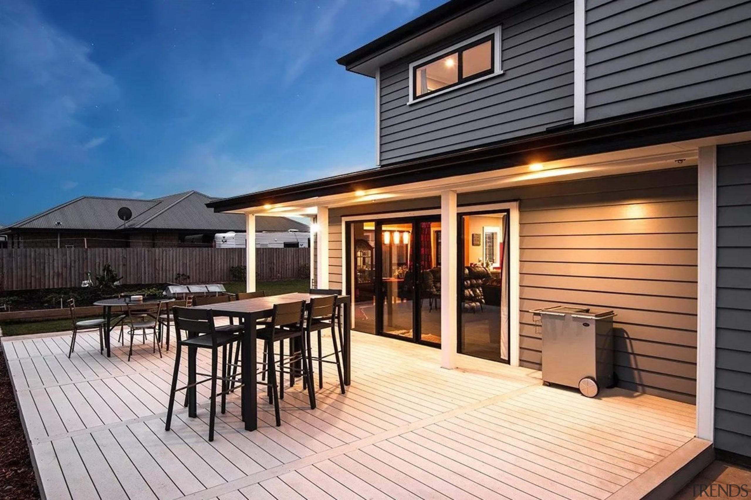 Envira bevel back weatherboards - Envira bevel back deck, home, house, outdoor structure, property, real estate, siding, window, black
