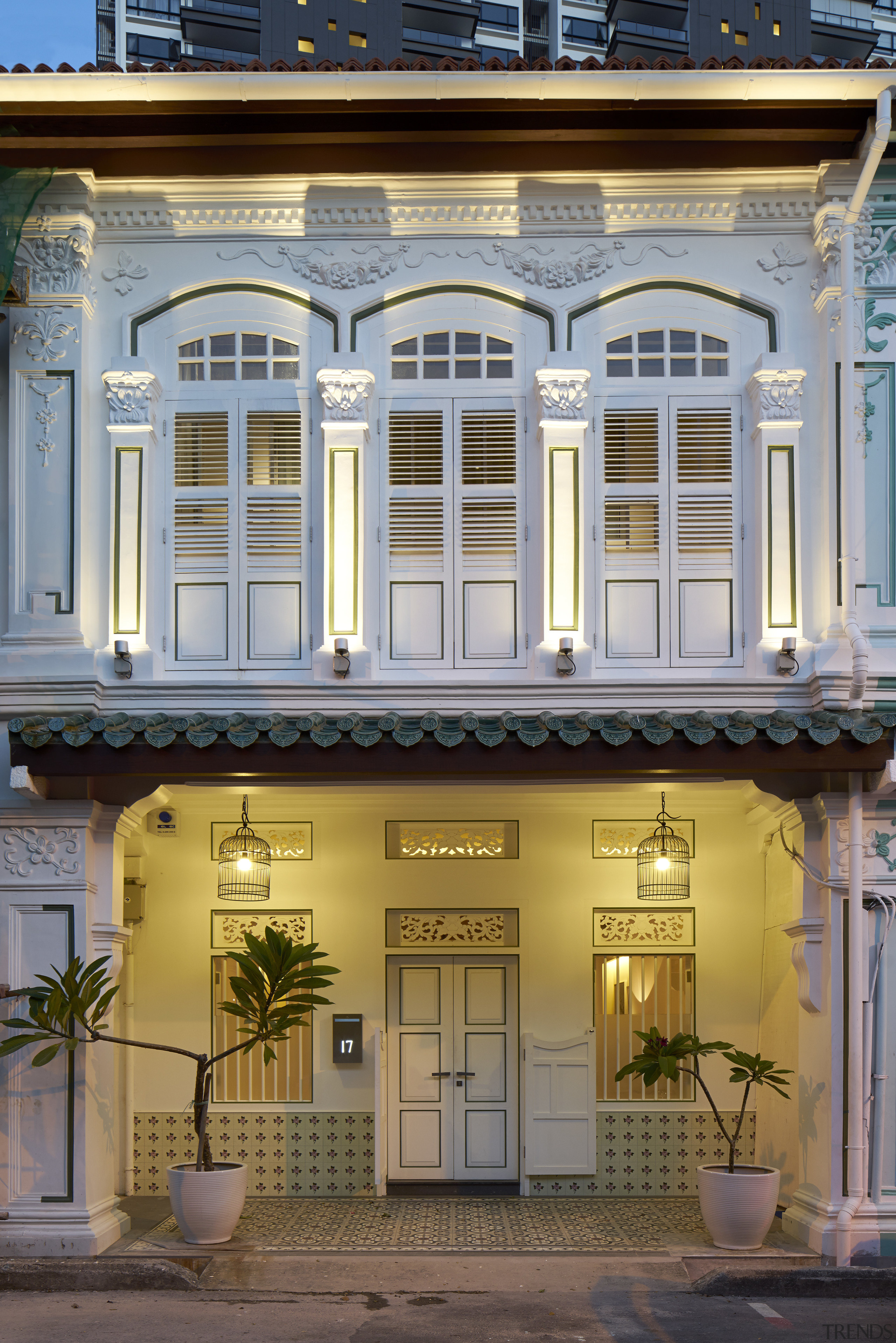 Decorative cornices, capitals, fanlights and enamel-finished dado tiles architecture, balcony, building, facade, home, house, mixed use, real estate, window, gray