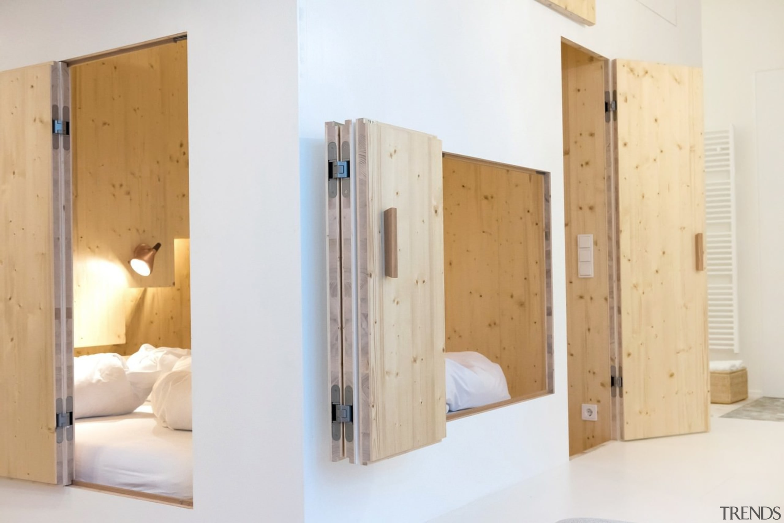 Architect: Sigurd LarsenPhotography by Rita Lino, James bed, door, furniture, product, product design, room, wall, wardrobe, wood, white, orange