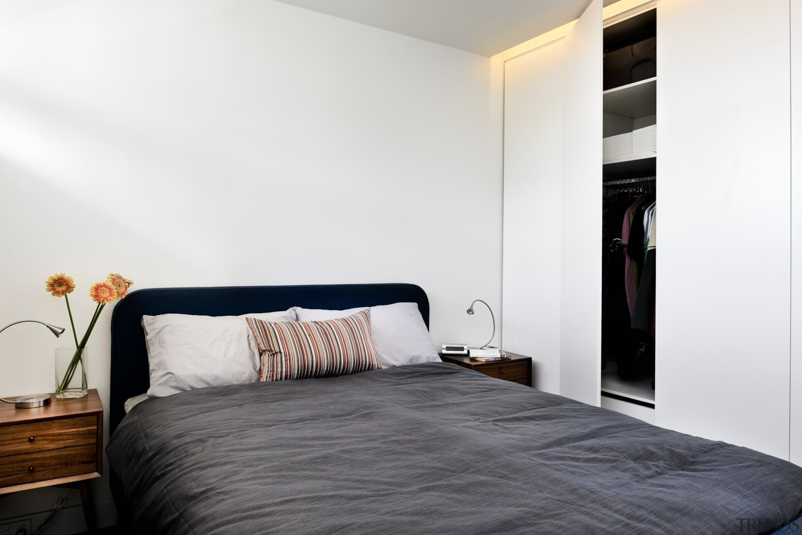 The bedroom features recessed lighting - The bedroom bed, bed frame, bedroom, floor, home, interior design, property, real estate, room, suite, wall, white