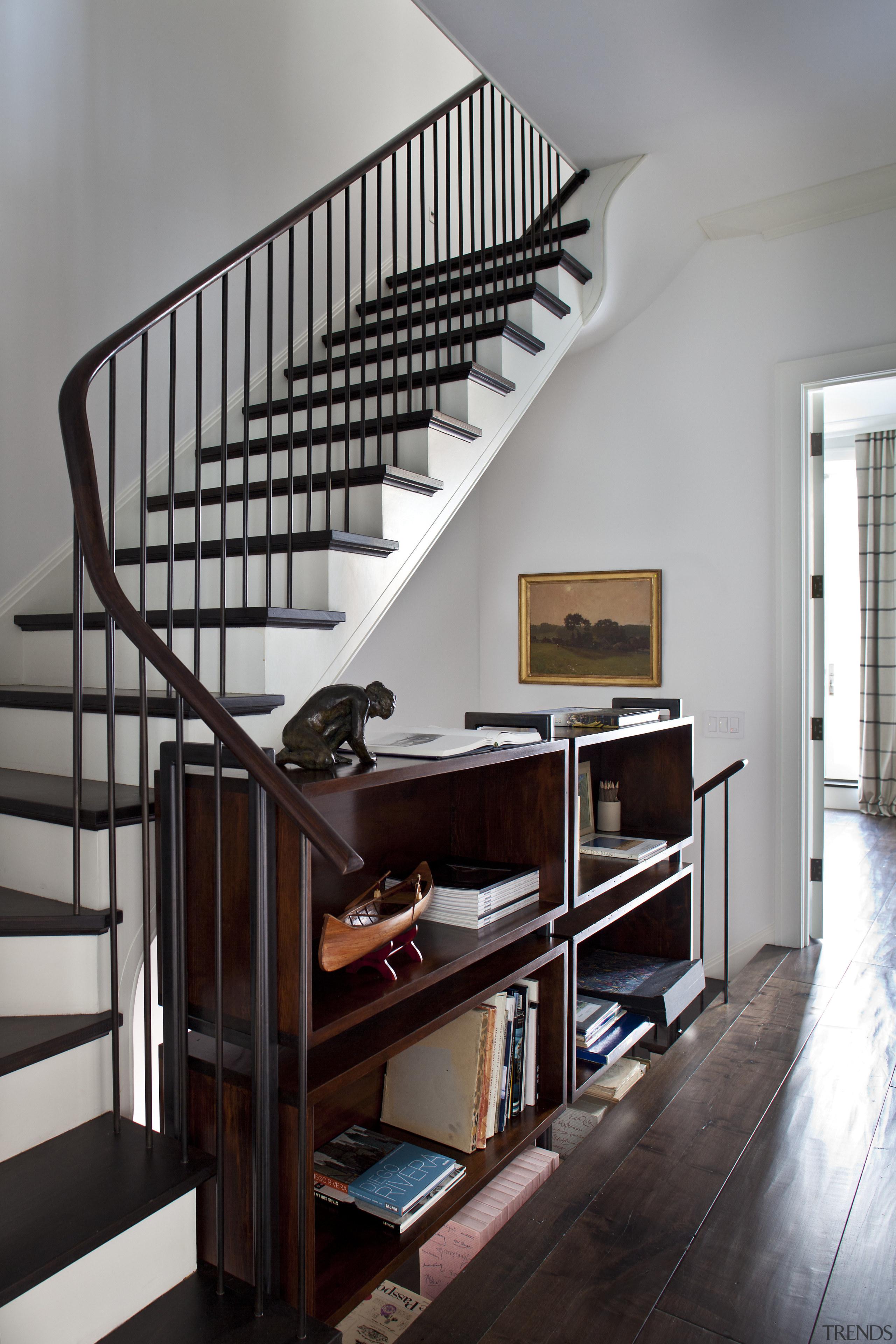 Stair in Manhattan townhouse remodel - Stair in flooring, furniture, handrail, home, interior design, shelf, shelving, stairs, gray, black