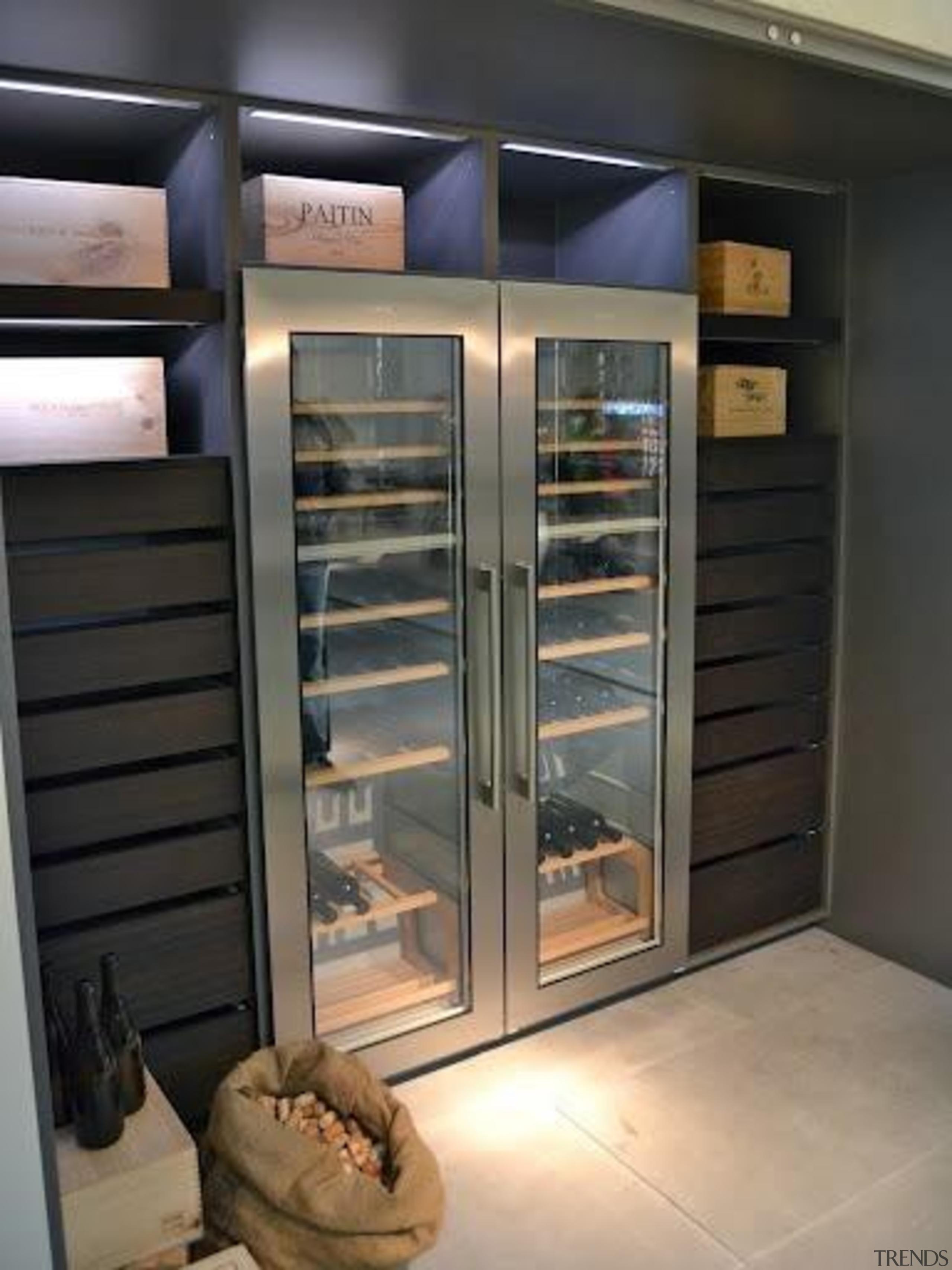 Modern Wine Cellar Ideas - Modern Wine Cellar display case, home appliance, kitchen appliance, major appliance, refrigerator, black, gray
