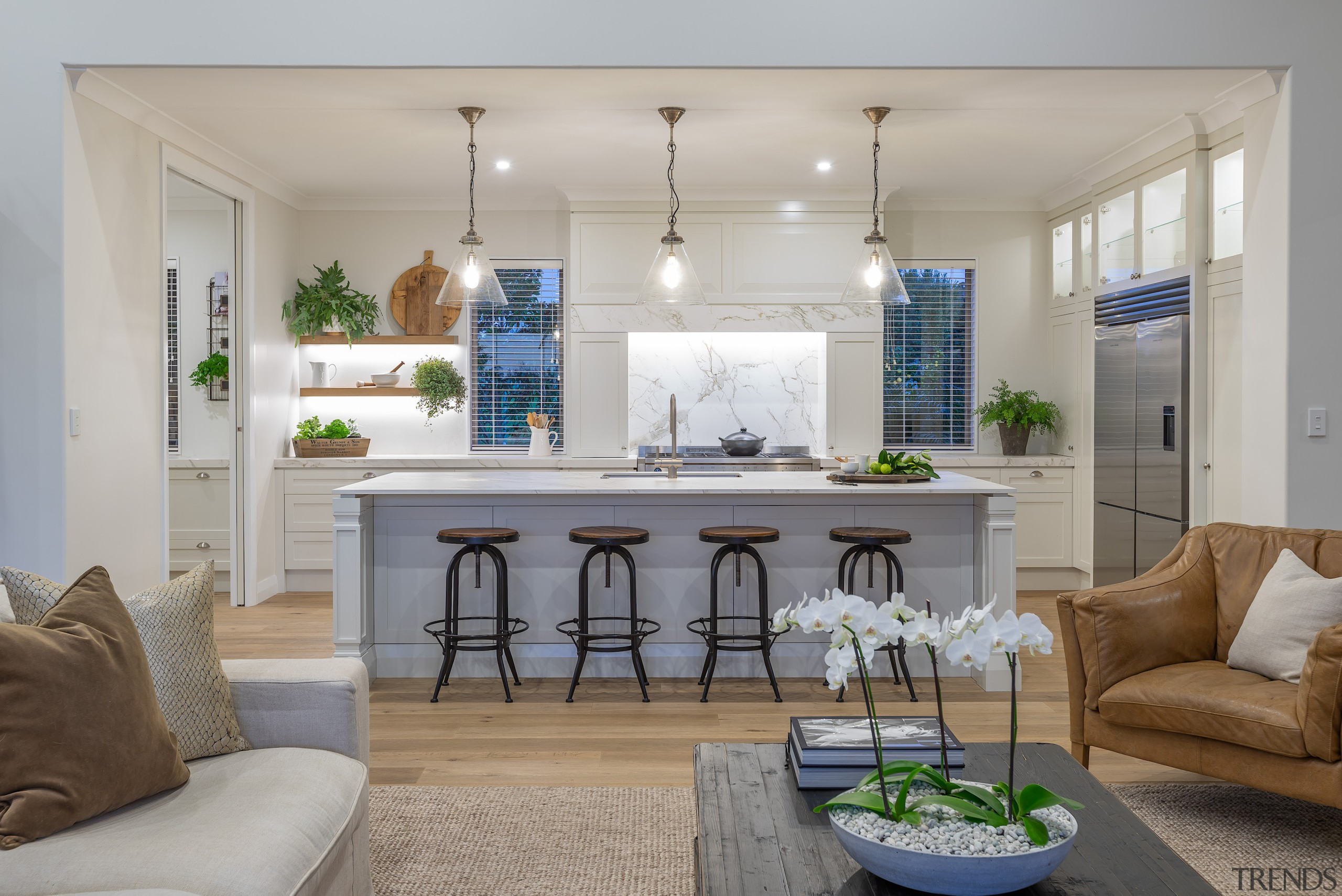Skilled woodworking detailing on the well-equipped kitchen is