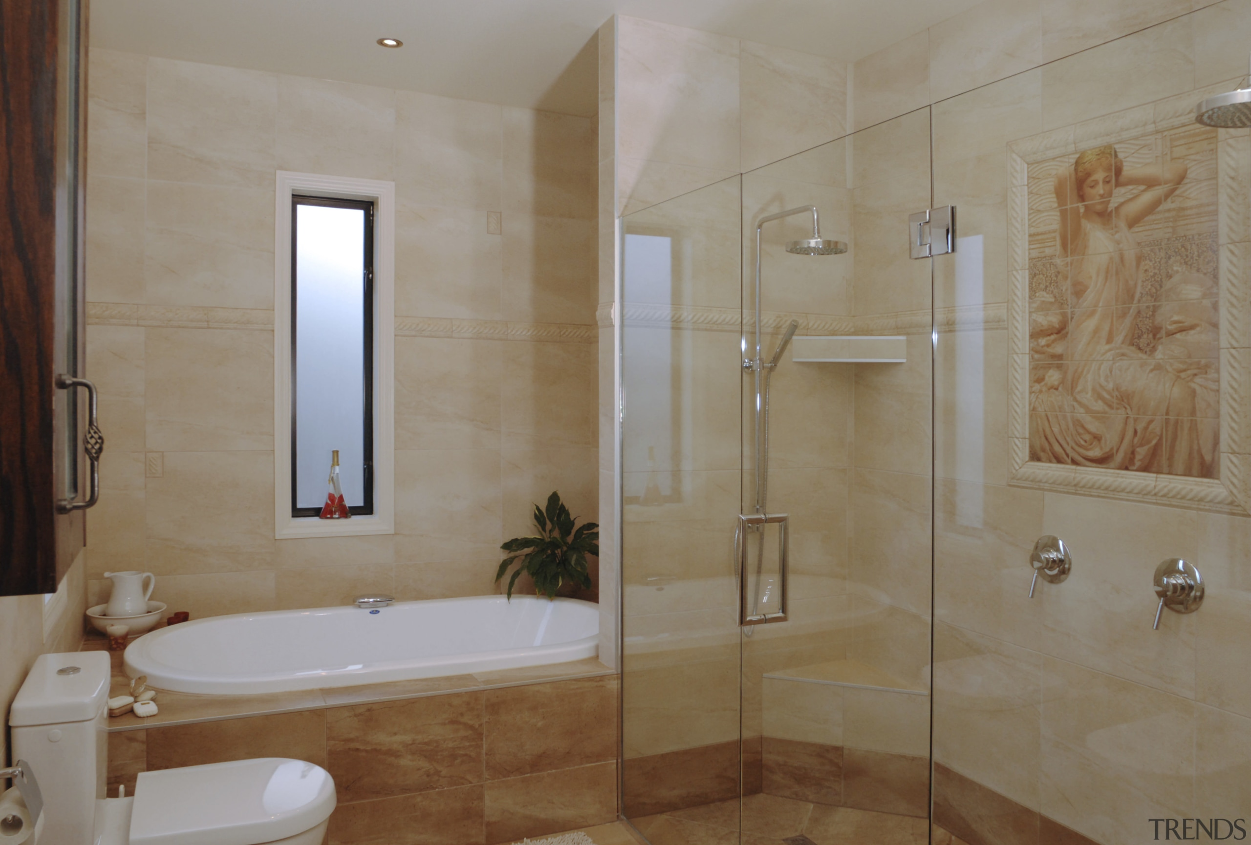 A view of a home designed by MF bathroom, estate, floor, flooring, home, interior design, plumbing fixture, property, real estate, room, tile, wall, gray, brown