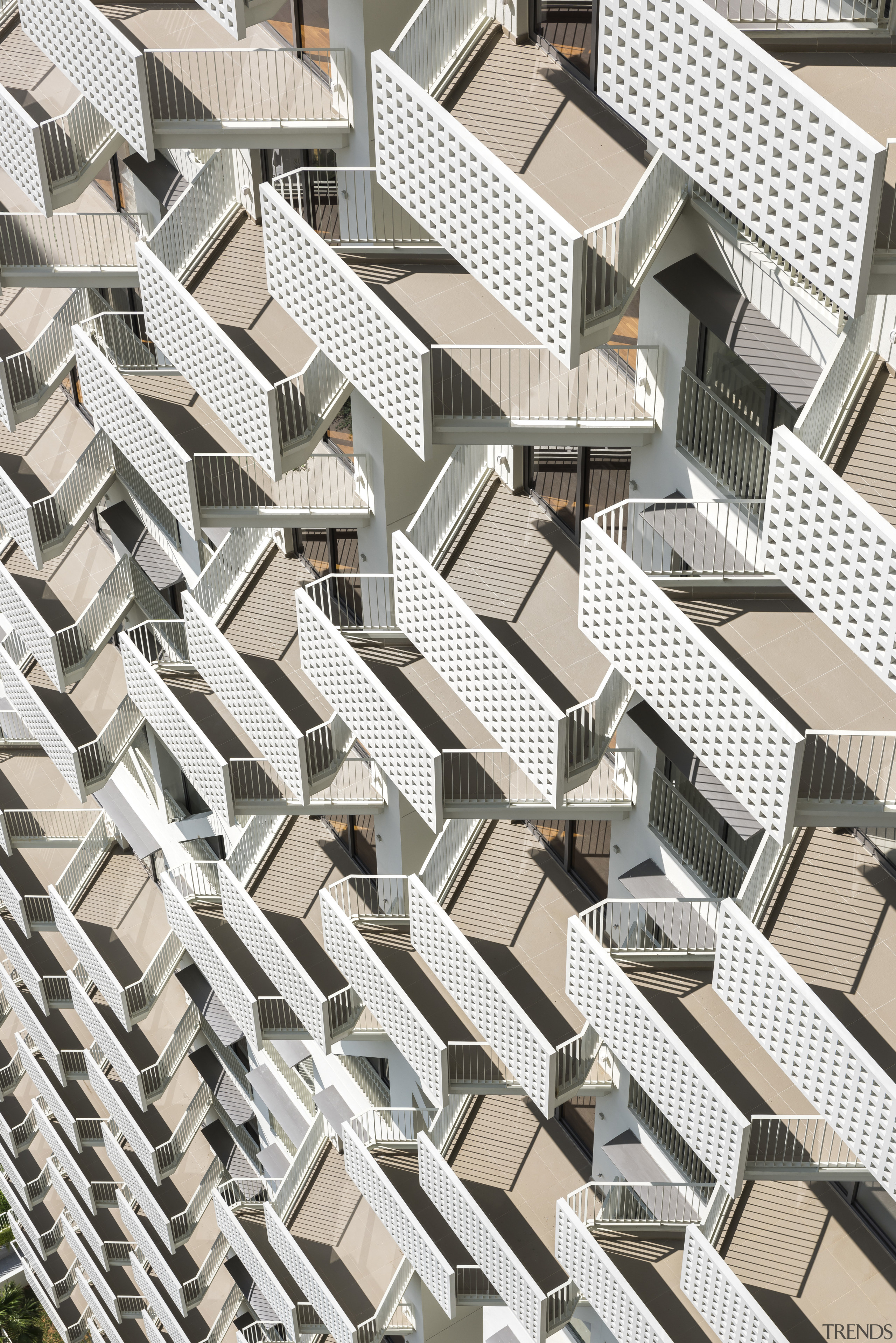 Alternating balconies allow more light and height for angle, architecture, building, condominium, facade, metropolis, pattern, residential area, structure, white