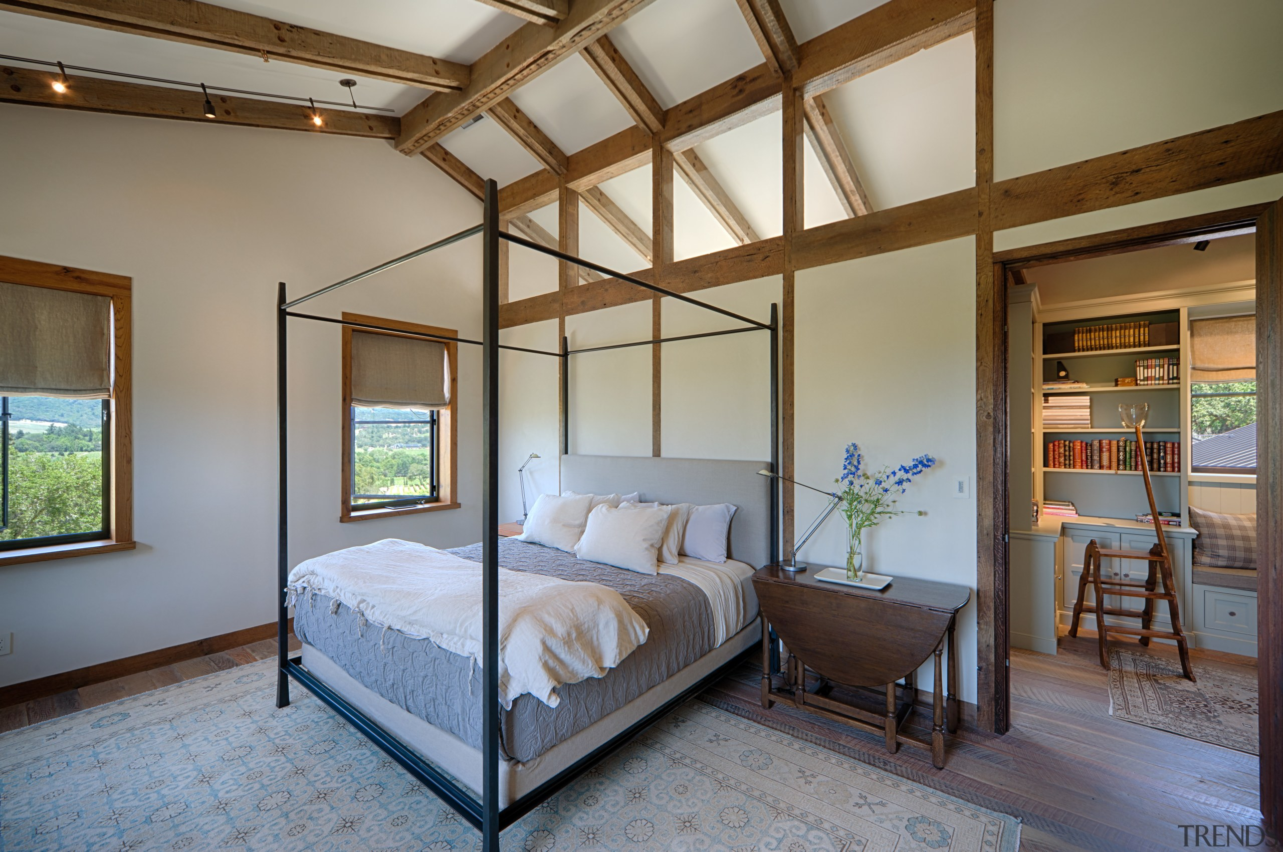 Flooring in the main bedroom of this home architecture, bedroom, ceiling, estate, home, house, interior design, real estate, room, window, gray