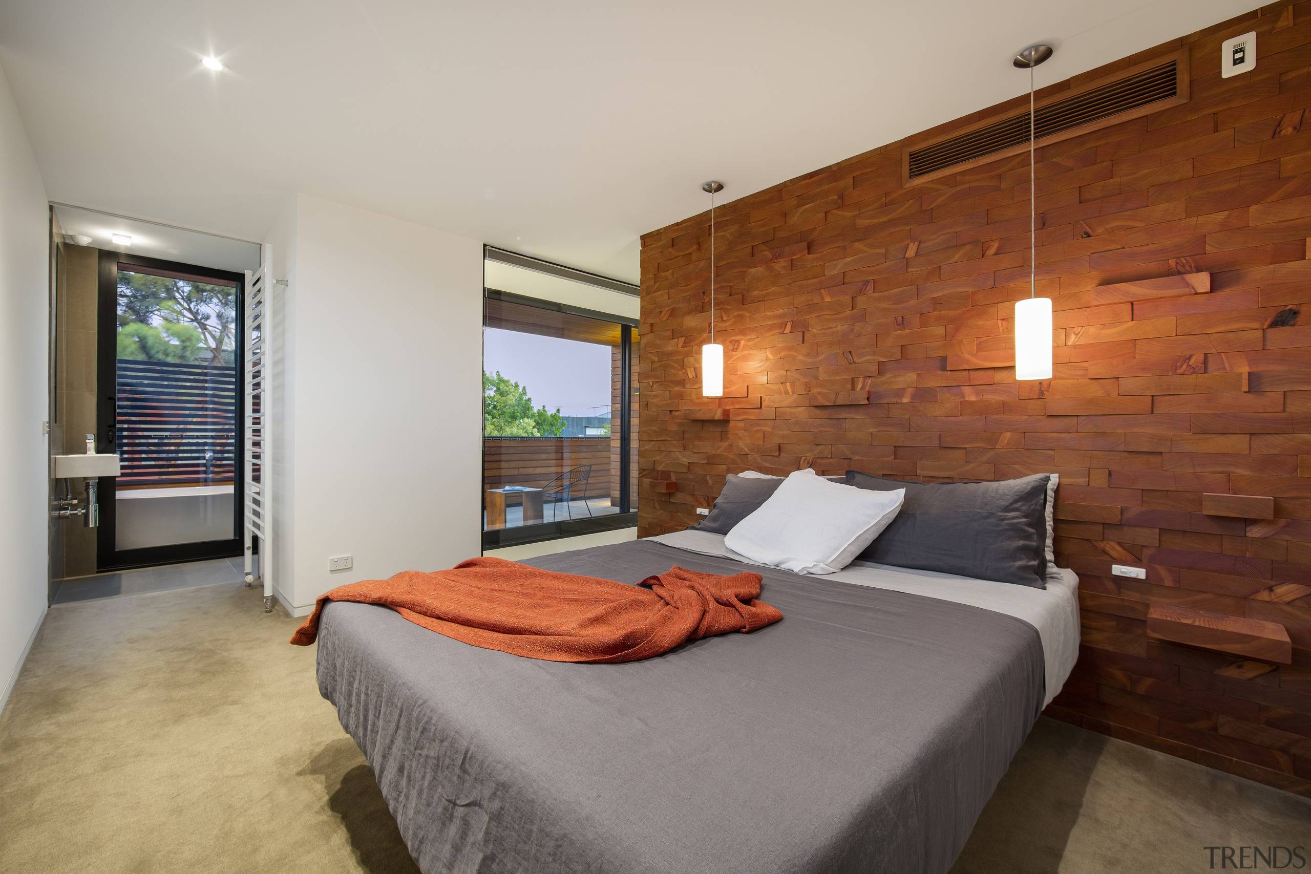A bespoke miniature modern home was achieved at bed frame, bedroom, ceiling, estate, floor, interior design, property, real estate, room, suite, wall, wood, gray, brown