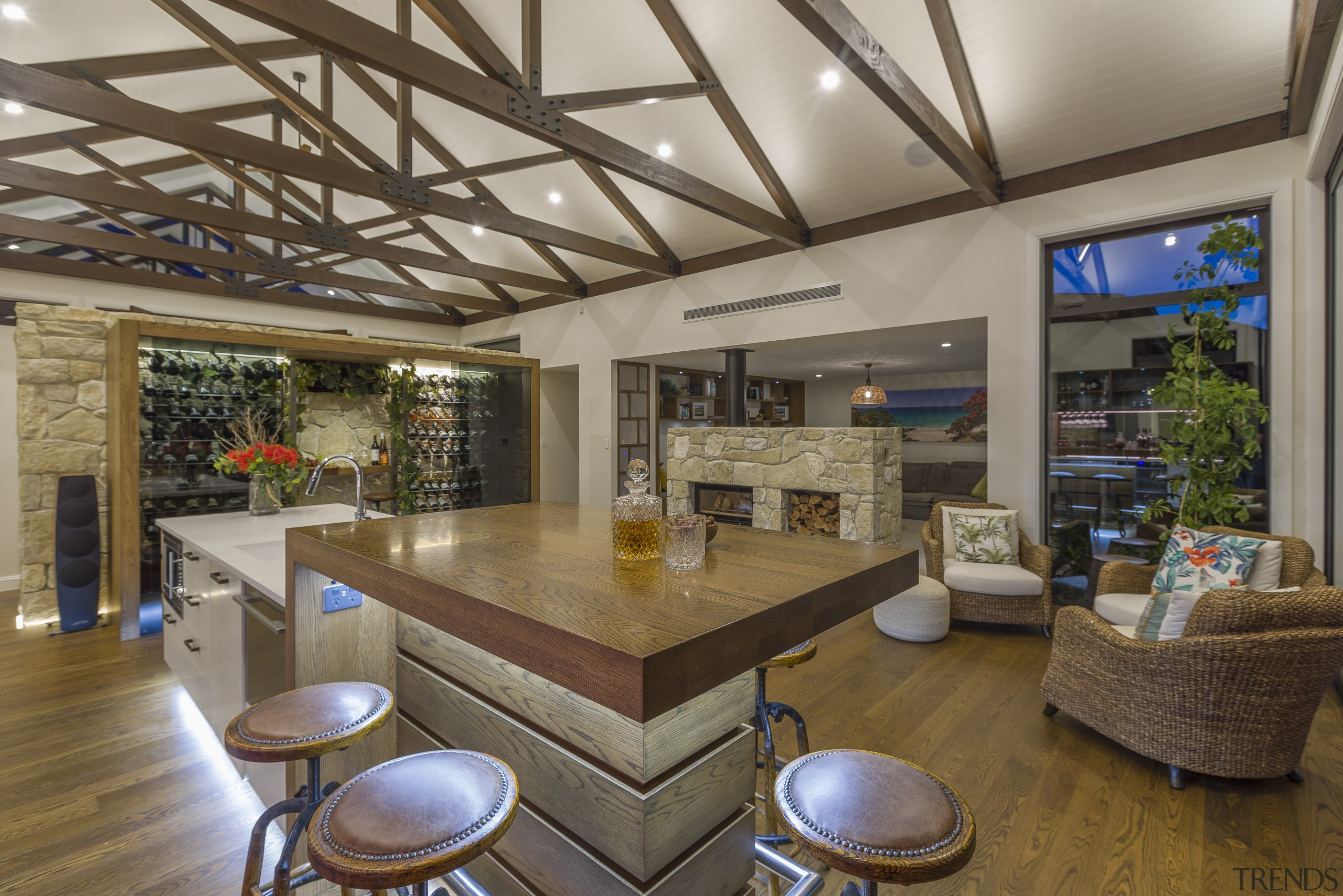 High ceilings, wood ceiling beams, luxurious wood floors architecture, building, ceiling, daylighting, estate, floor, flooring, furniture, home, house, interior design, living room, loft, property, real estate, room, table, brown, gray