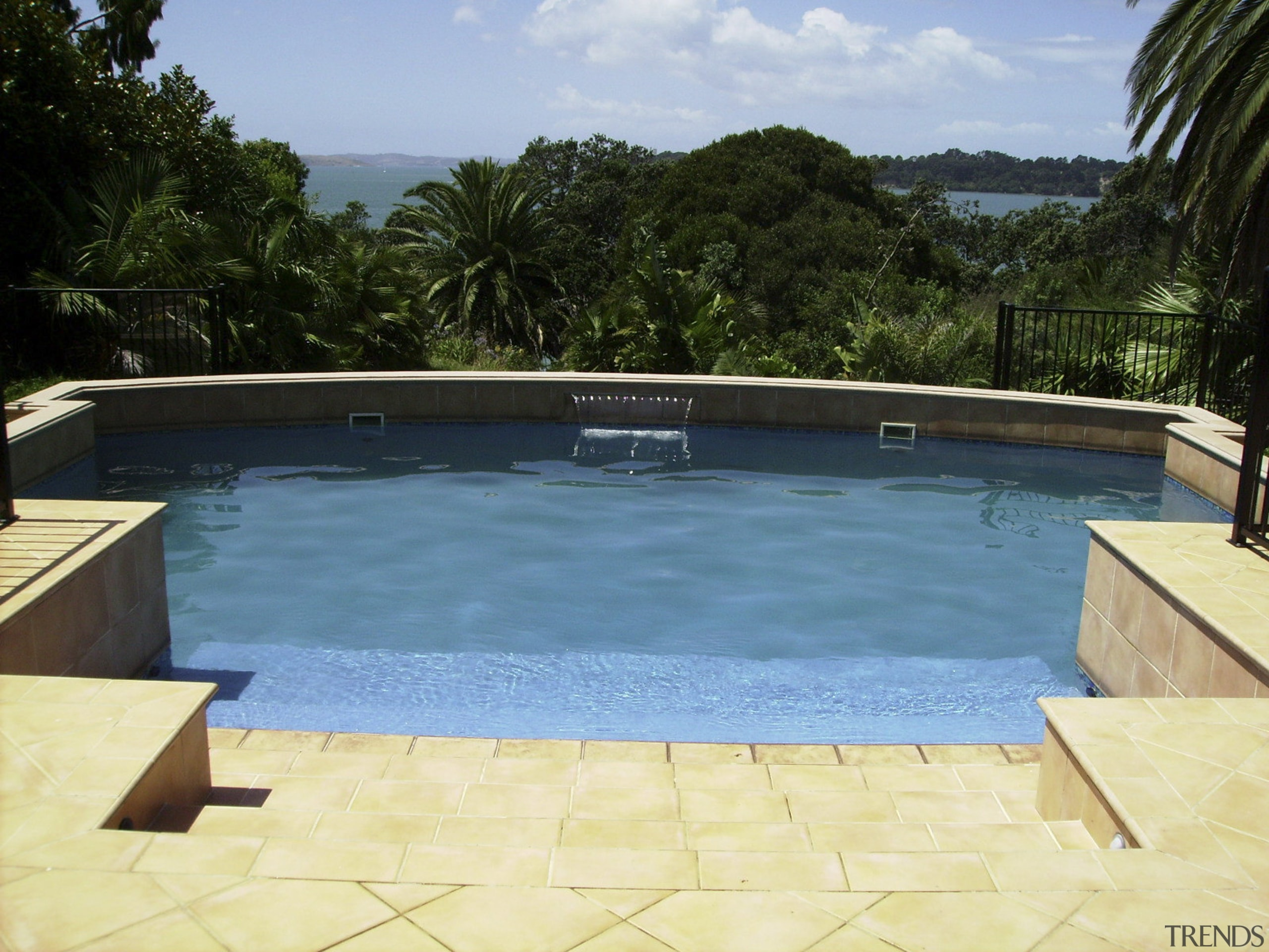 Exterior view of modern pool - Exterior view area, estate, leisure, property, real estate, resort, swimming pool, water, teal, yellow