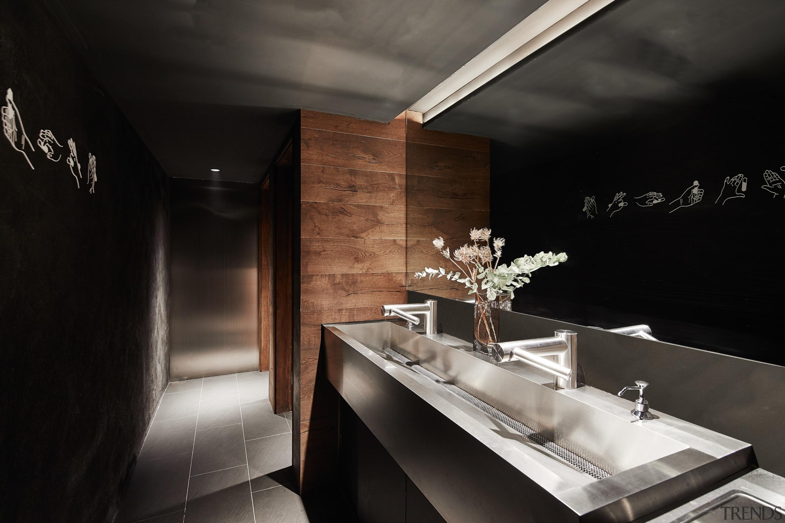 Even the bathrooms have a strong sculptural edge black