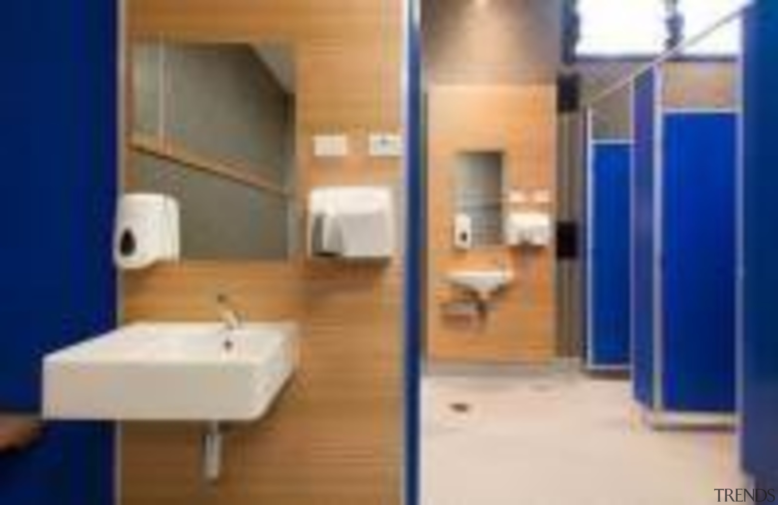 Changing room at St Mary's College Designed by bathroom, floor, interior design, real estate, room, blue, gray