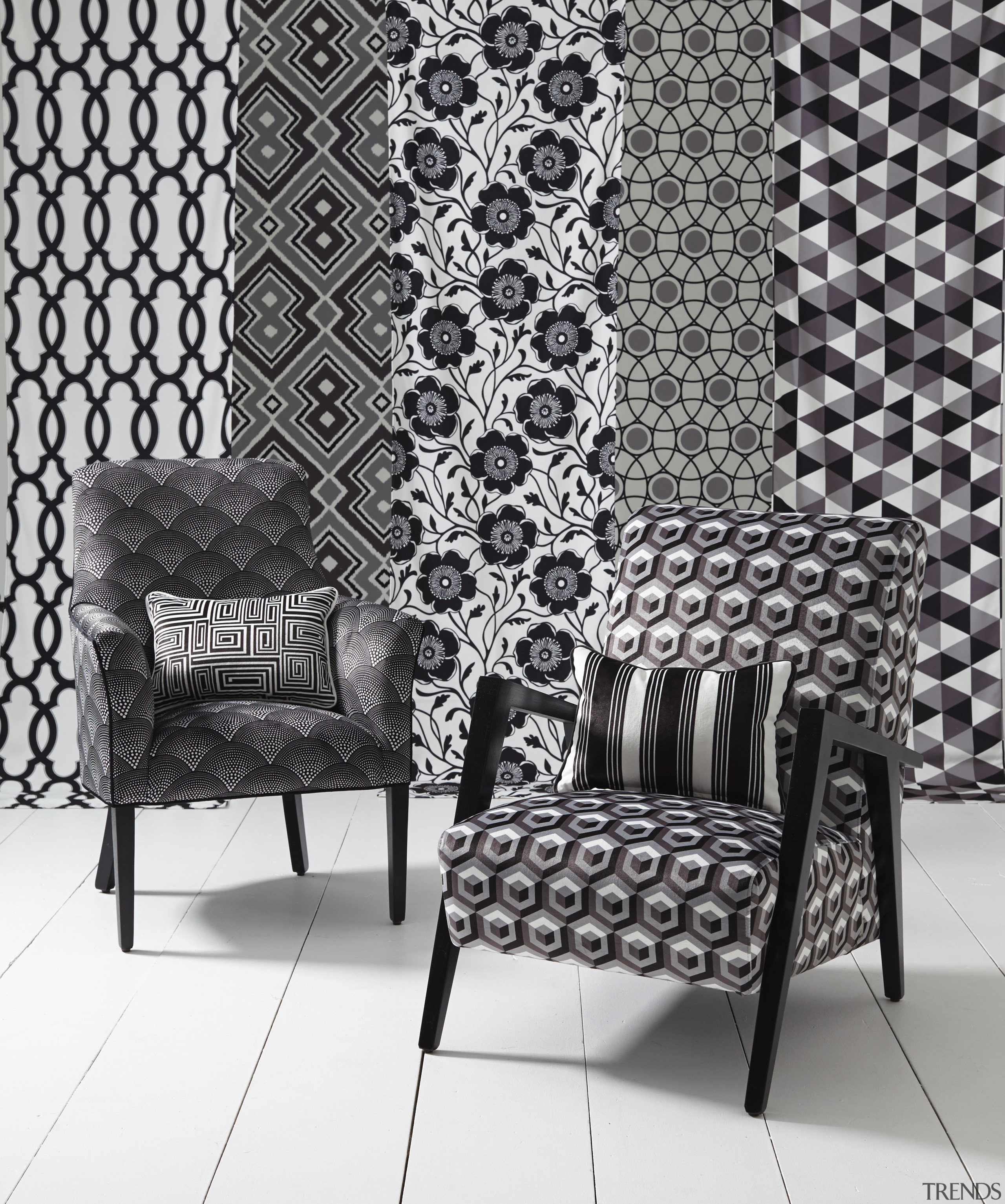 In modern commercial interiors, an eye-catching furnishing scheme black, black and white, chair, couch, design, furniture, interior design, living room, monochrome, monochrome photography, pattern, wall, wallpaper, white, black, gray