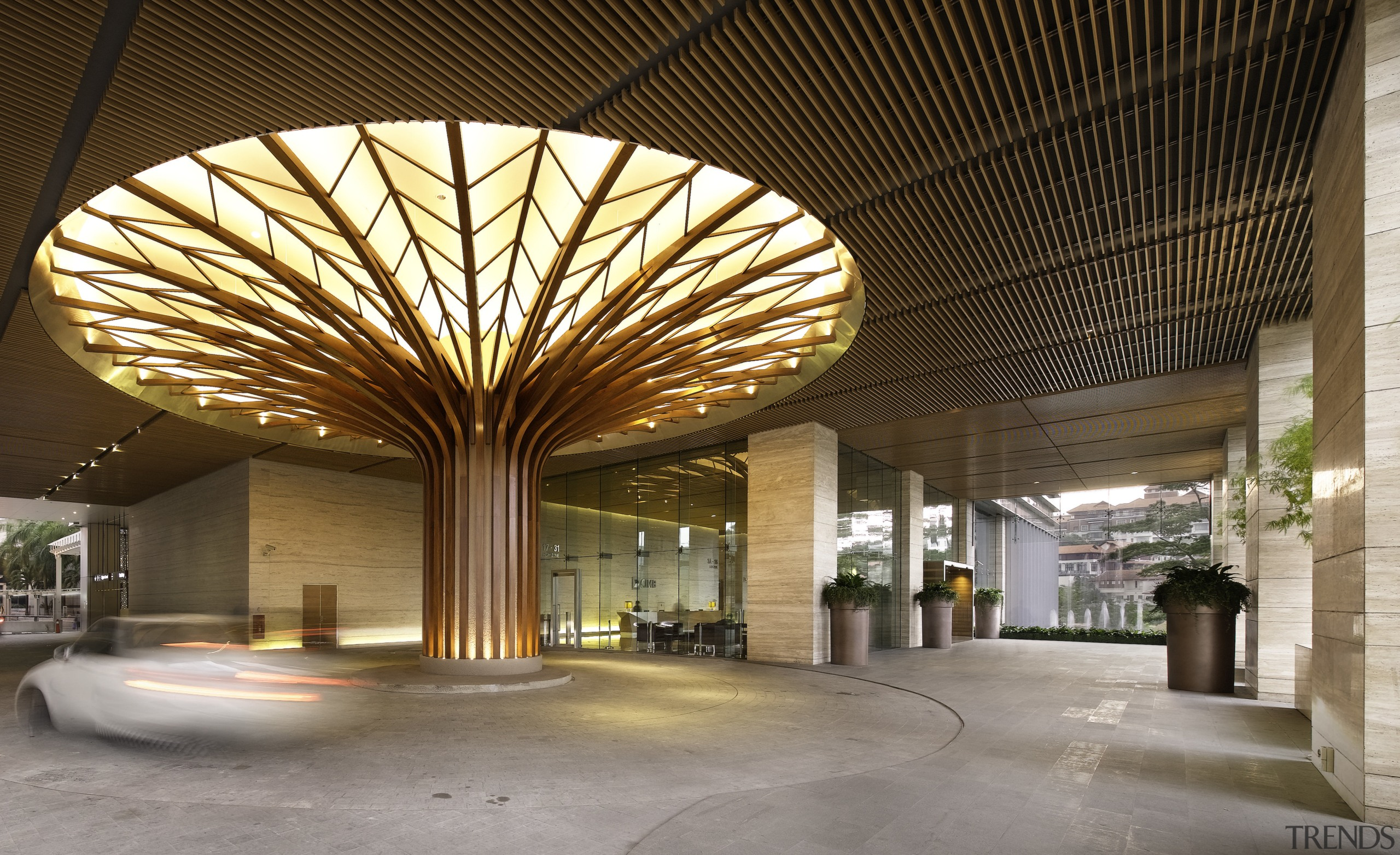 This sculptural teak Tree of Life in the architecture, ceiling, daylighting, lobby, brown