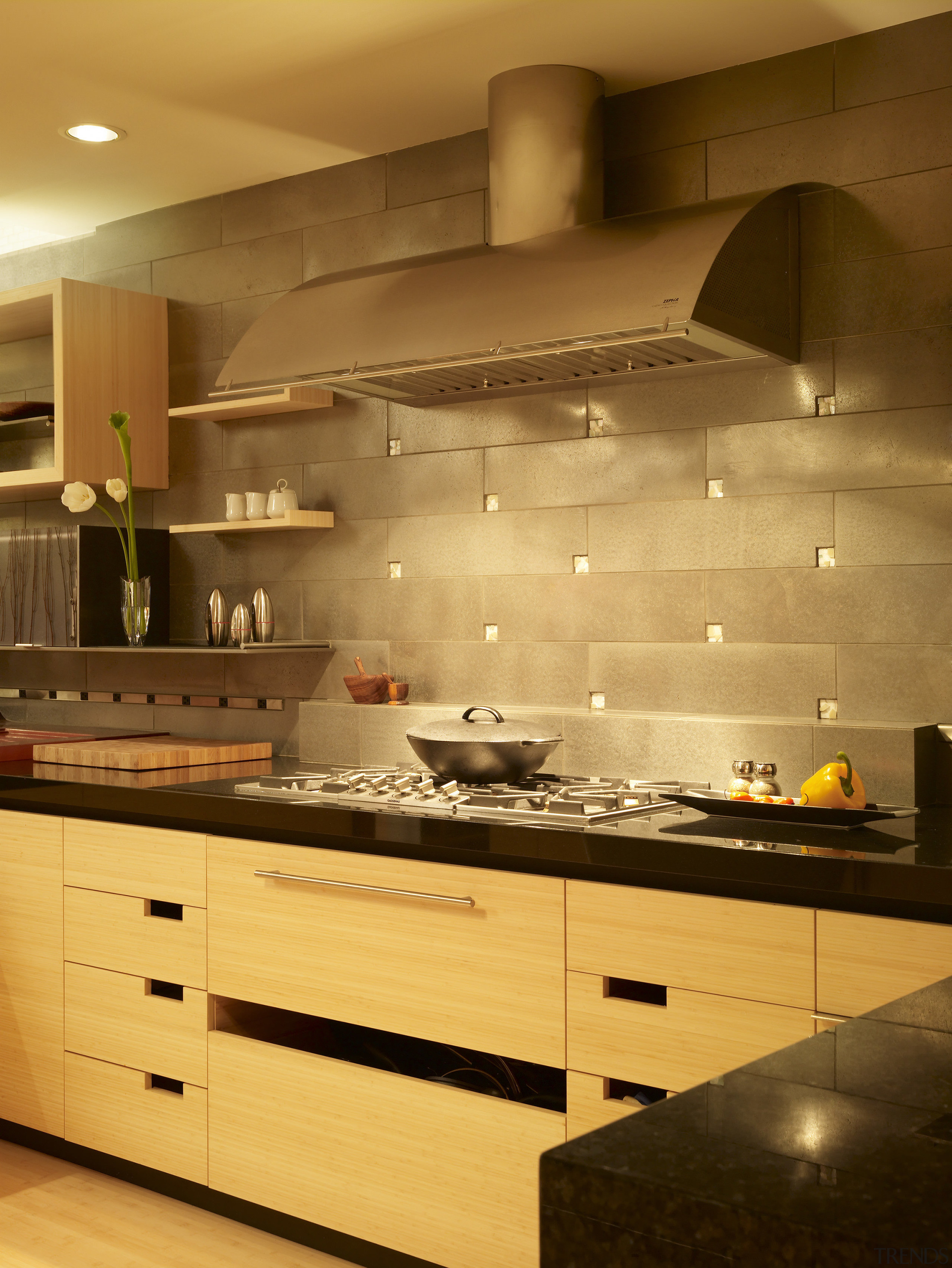 View of a remodeled kitchen with platinum grey cabinetry, ceiling, countertop, cuisine classique, floor, flooring, interior design, kitchen, lighting, room, under cabinet lighting, wall, brown, orange