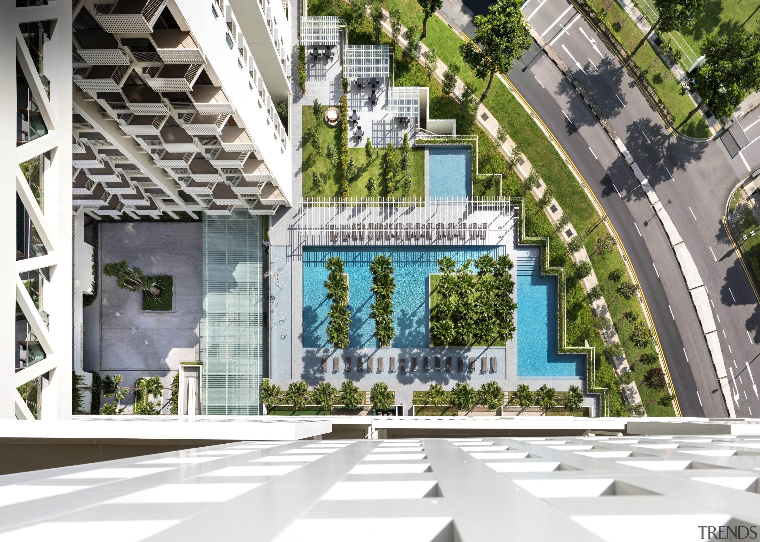 Residents at Singapores Sky Habitat enjoy extensive ground architecture, condominium, house, mixed use, real estate, residential area, urban design, white