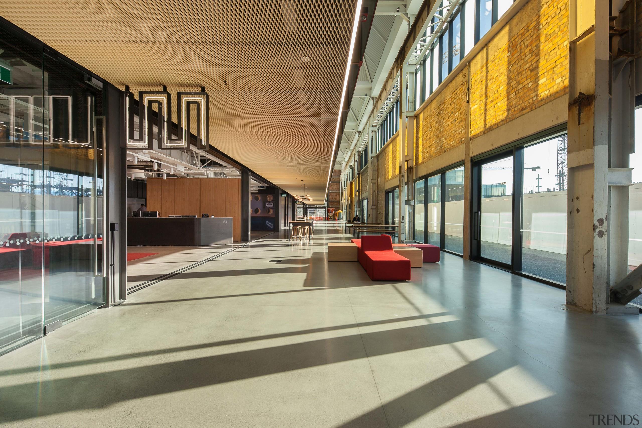 The Mason Bros interiors inlcudes the new Warren architecture, building, daylighting, interior design, lobby, metropolitan area, shopping mall, gray