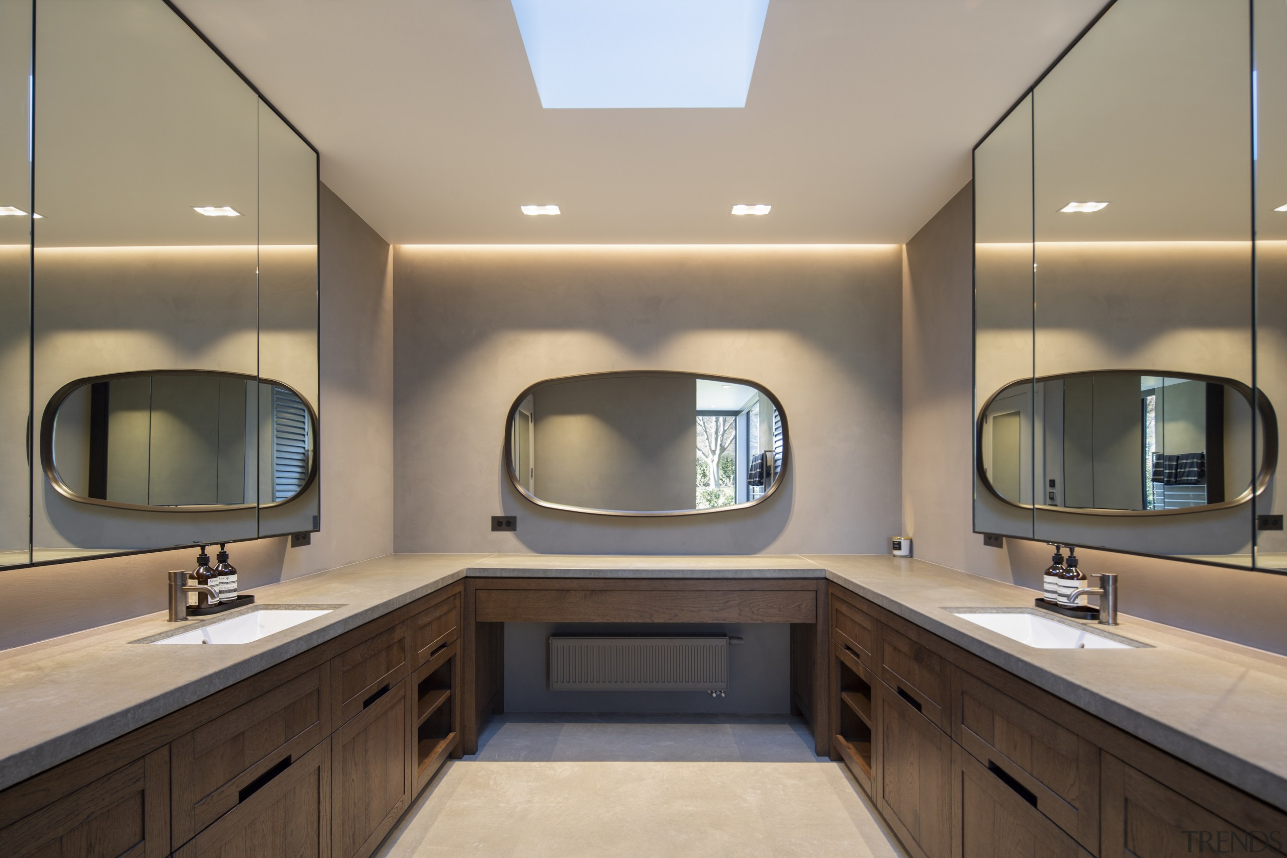 Recessed lighting and a skylight mean every area