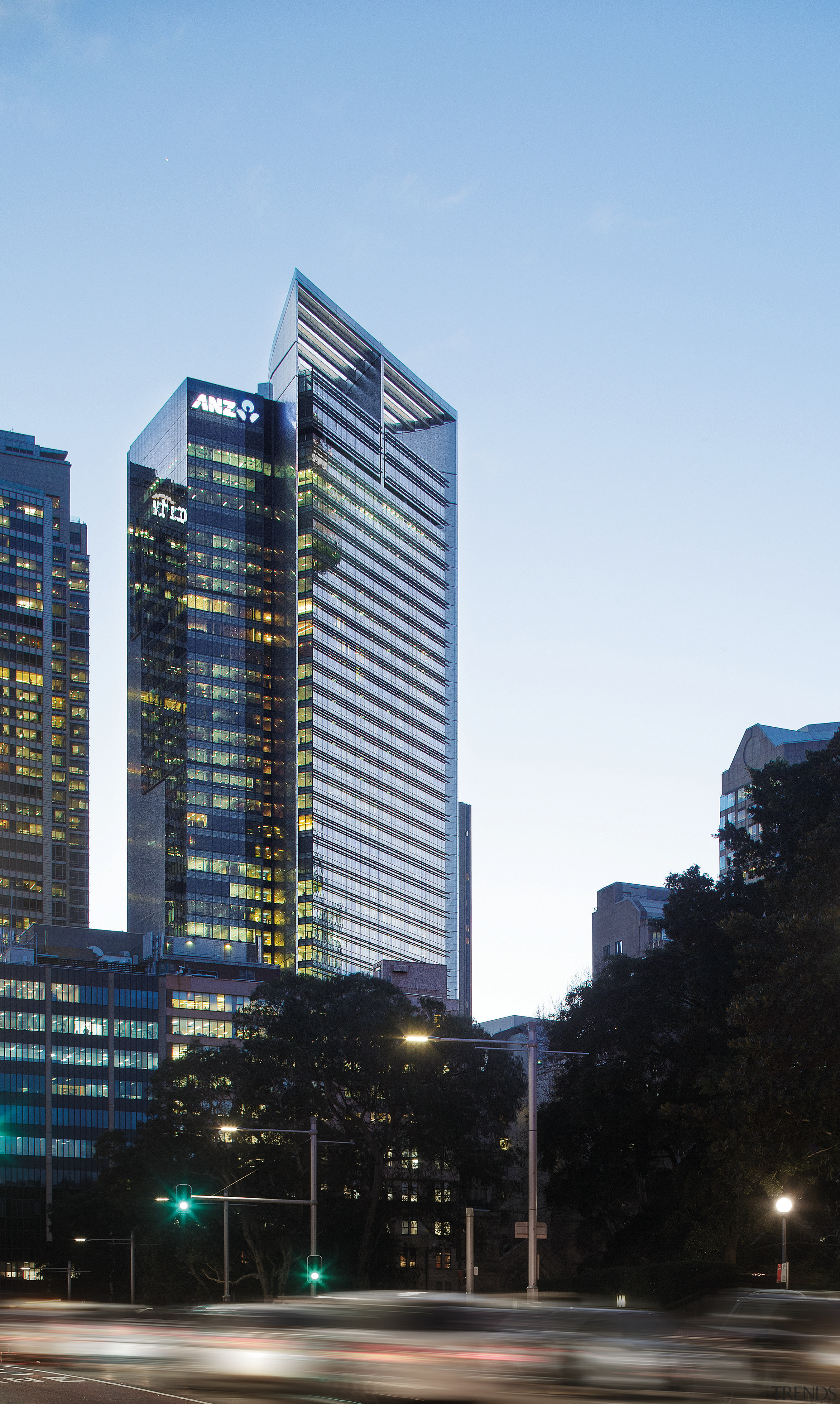 The ANZ Tower features a louvre rooftop. - architecture, building, city, cityscape, commercial building, condominium, corporate headquarters, daytime, downtown, facade, headquarters, hotel, landmark, metropolis, metropolitan area, mixed use, real estate, reflection, residential area, sky, skyline, skyscraper, tower, tower block, urban area, black, white