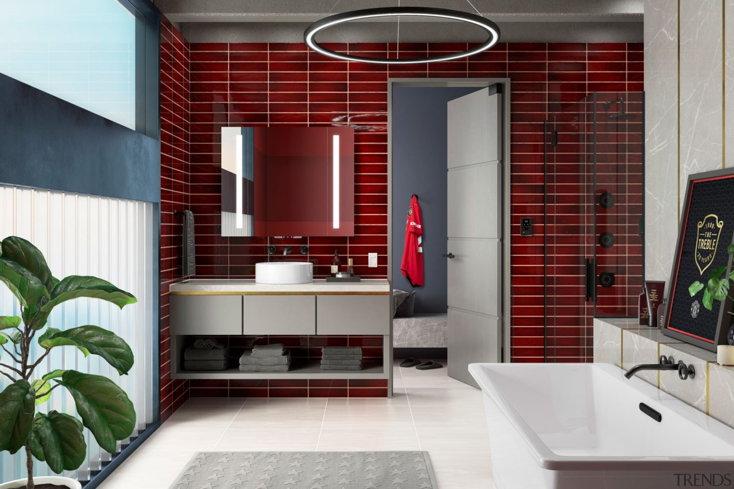 The Kohler design team sought to embrace Manchester architecture, bathroom, building, cabinetry, ceiling, floor, flooring, furniture, home, house, interior design, living room, property, real estate, red, room, sink, tile, white, red