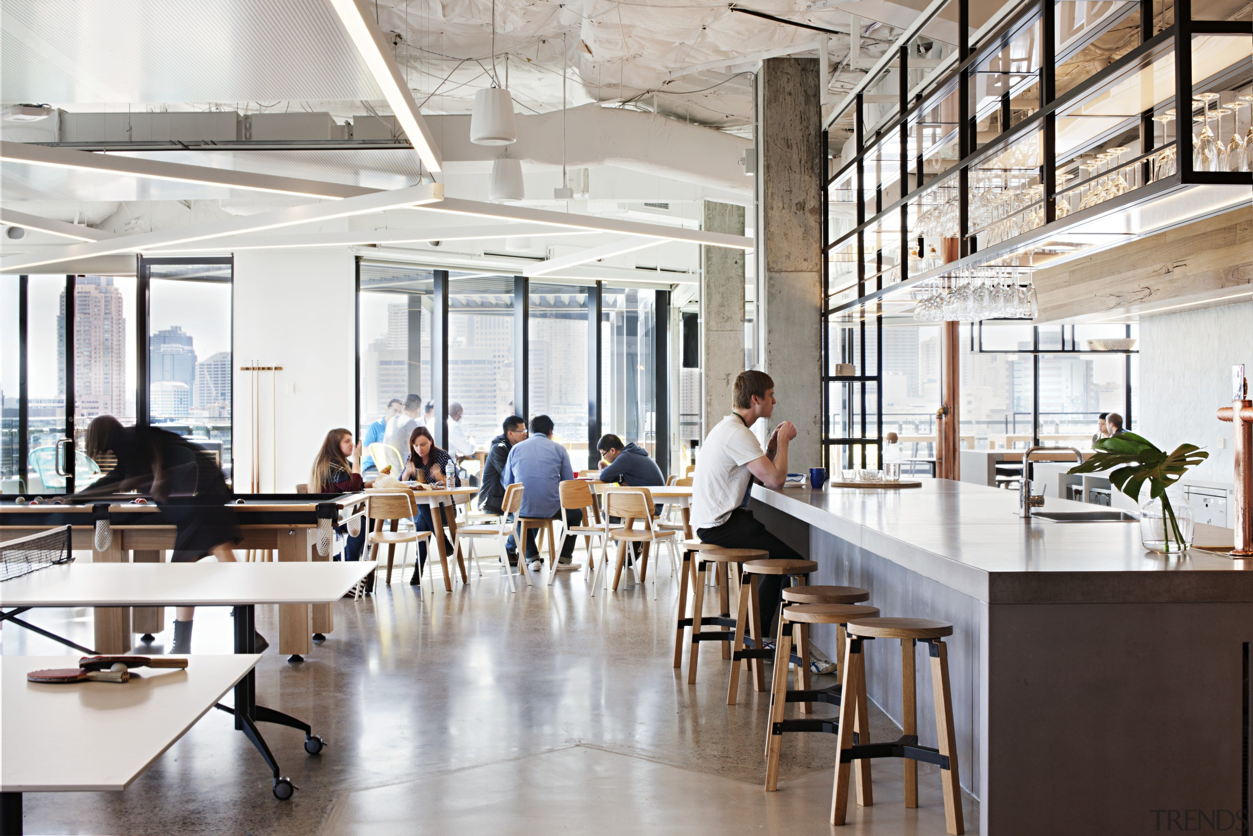Much of the discussion in workplace design is furniture, interior design, office, white