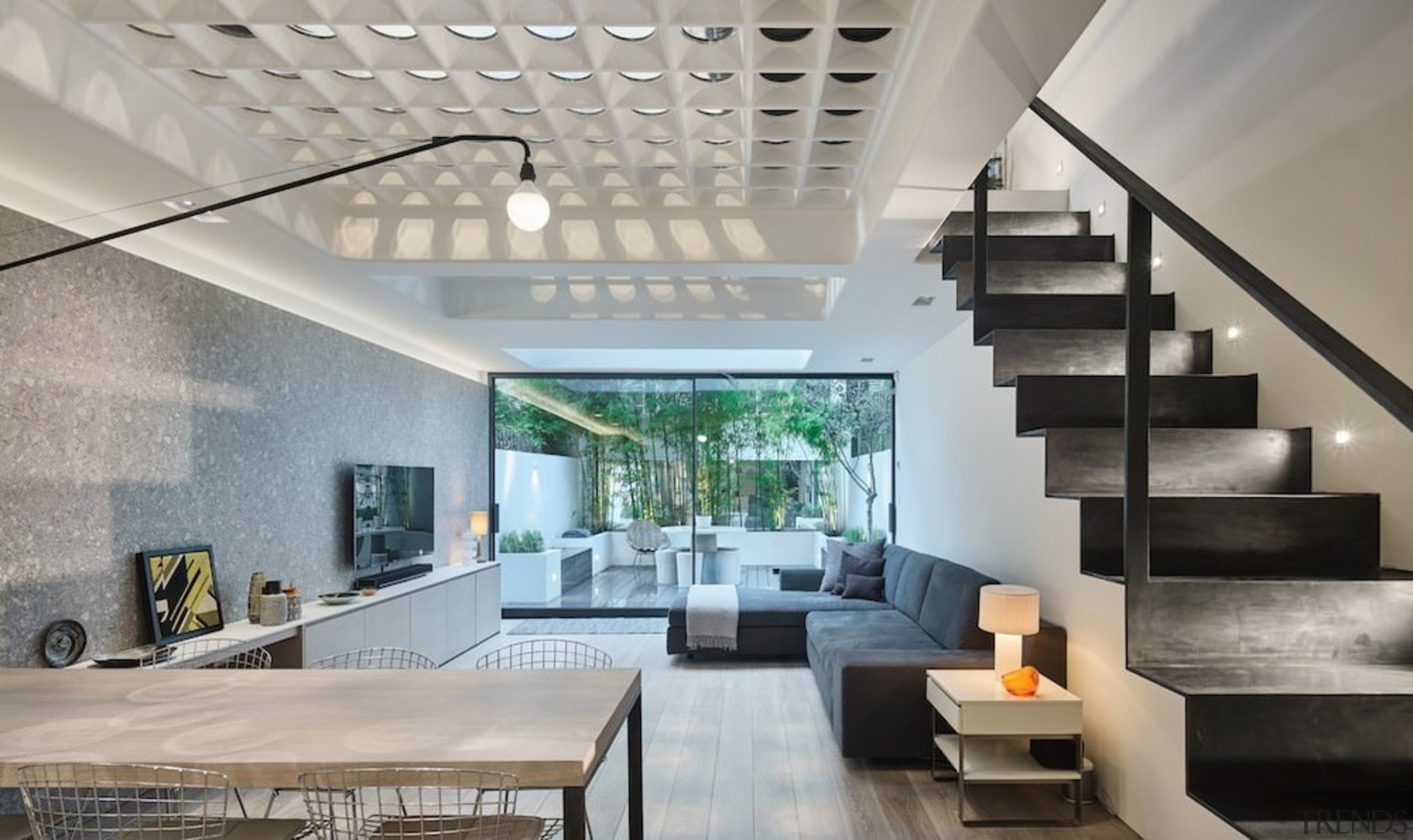 Andy Martin Architecture – Renovation in London - architecture, ceiling, condominium, daylighting, estate, house, interior design, living room, lobby, real estate, stairs, gray