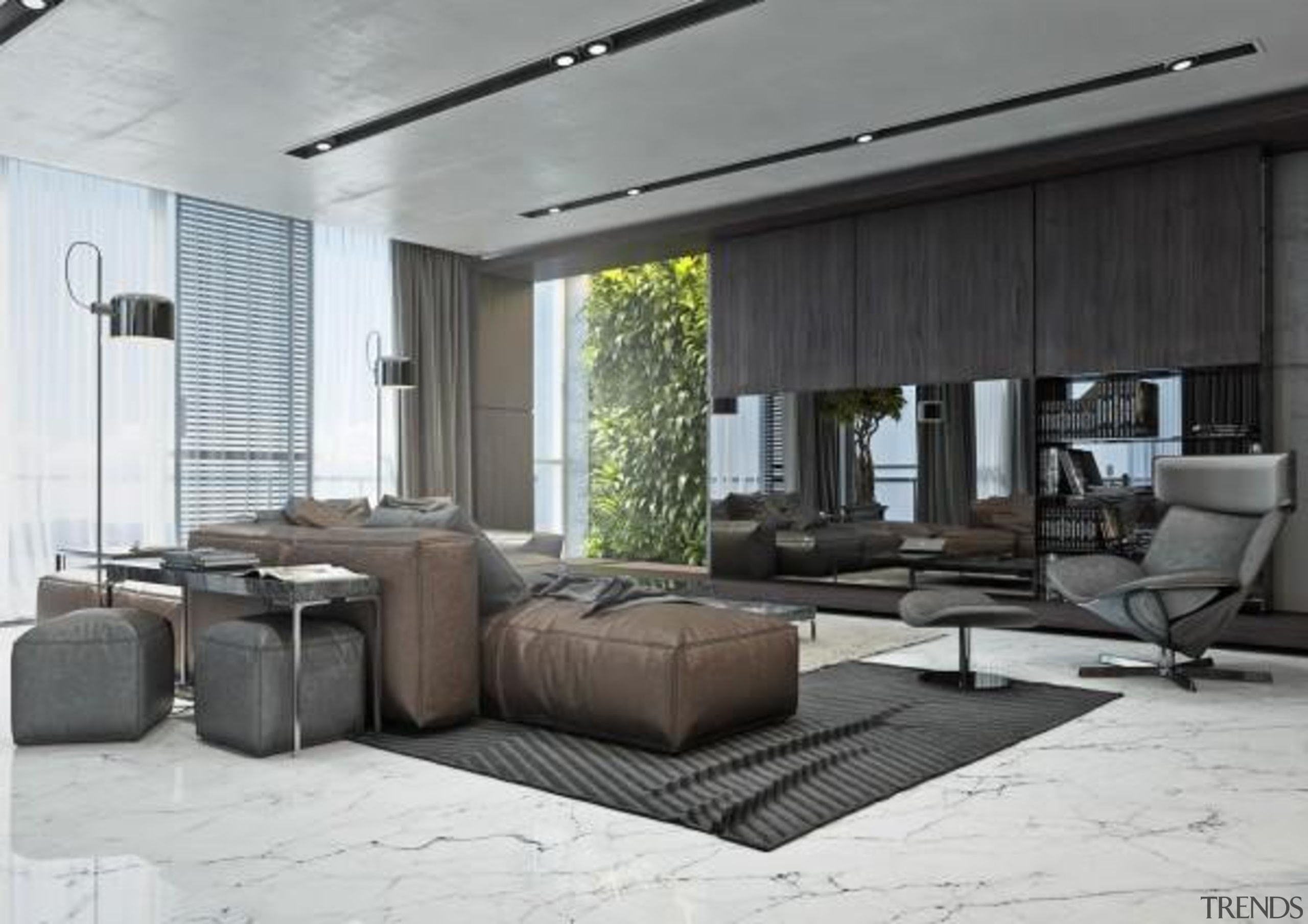 slick livingroom - Masculine Apartments - ceiling   ceiling, floor, furniture, house, interior design, living room, property, white, gray, black