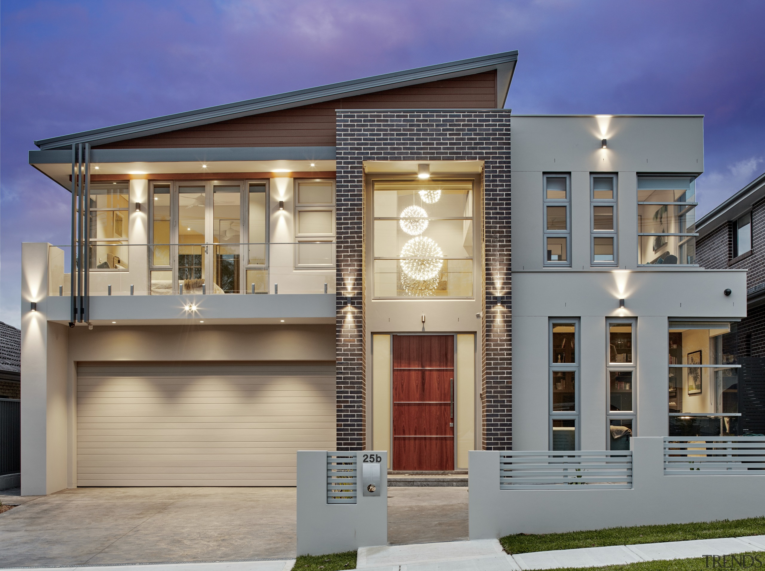 An architectural facade, large double garage, double-height atrium, architecture, building, commercial building, elevation, estate, facade, home, house, mixed use, property, real estate, residential area, siding, window, gray