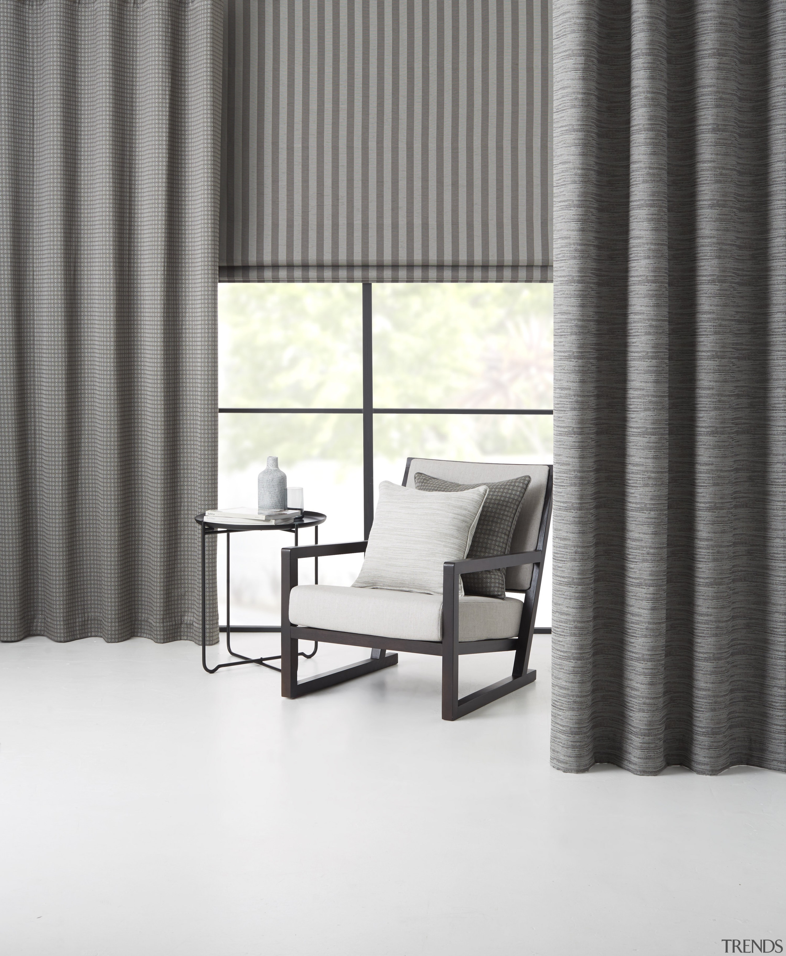 Summit 03 - chair | curtain | floor chair, curtain, floor, furniture, interior design, shade, table, textile, wall, window, window blind, window covering, window treatment, white, gray