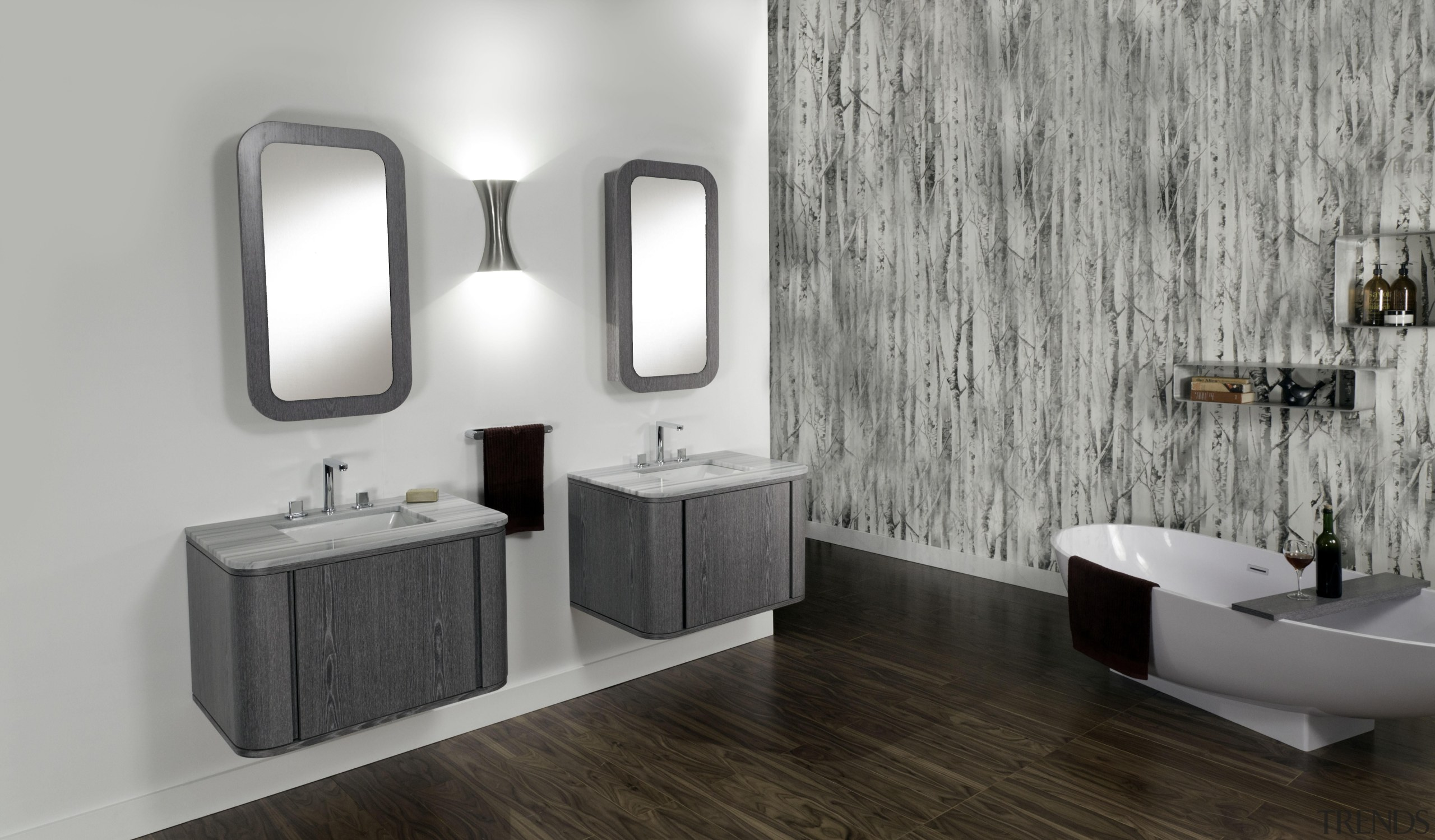Free-standing under-counter vanity for one lavatory, with one bathroom, bathroom accessory, bathroom cabinet, floor, interior design, plumbing fixture, product design, room, sink, tap, gray