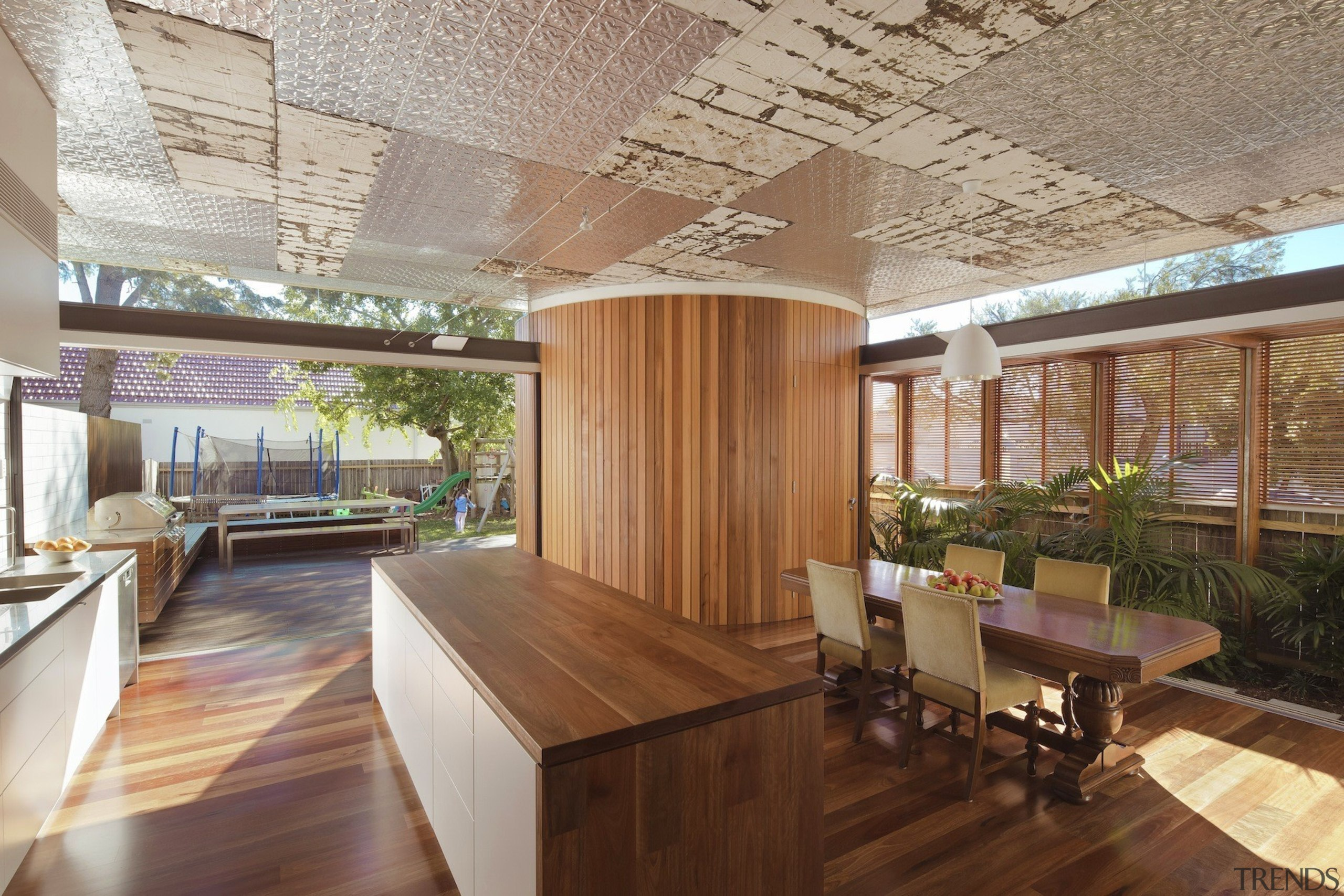 CplusC Architectural Workshop architecture, ceiling, flooring, hardwood, house, interior design, lobby, real estate, roof, wood, brown, gray