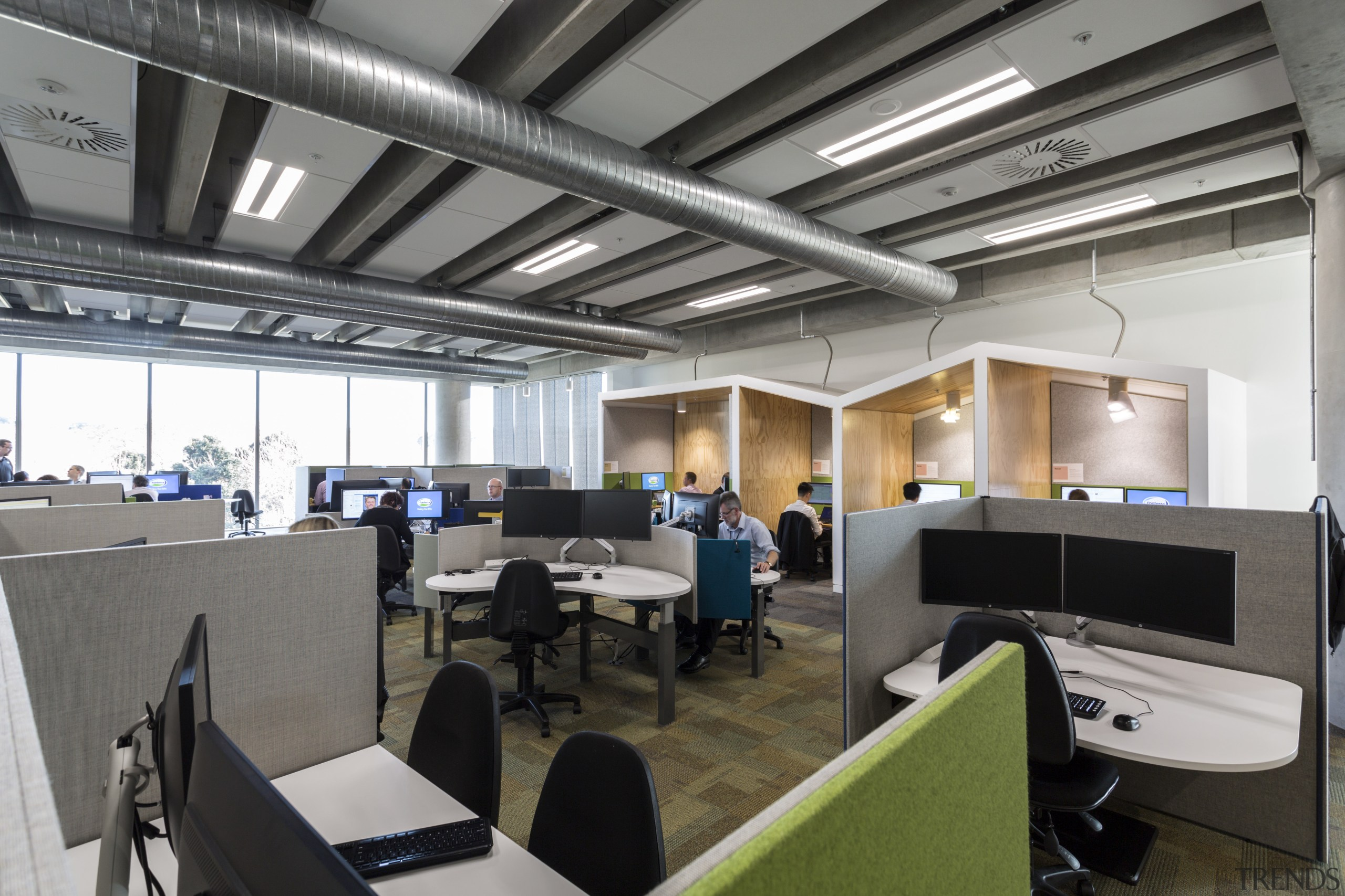 :Behind the scenes  Installed between concrete support interior design, office, gray, black