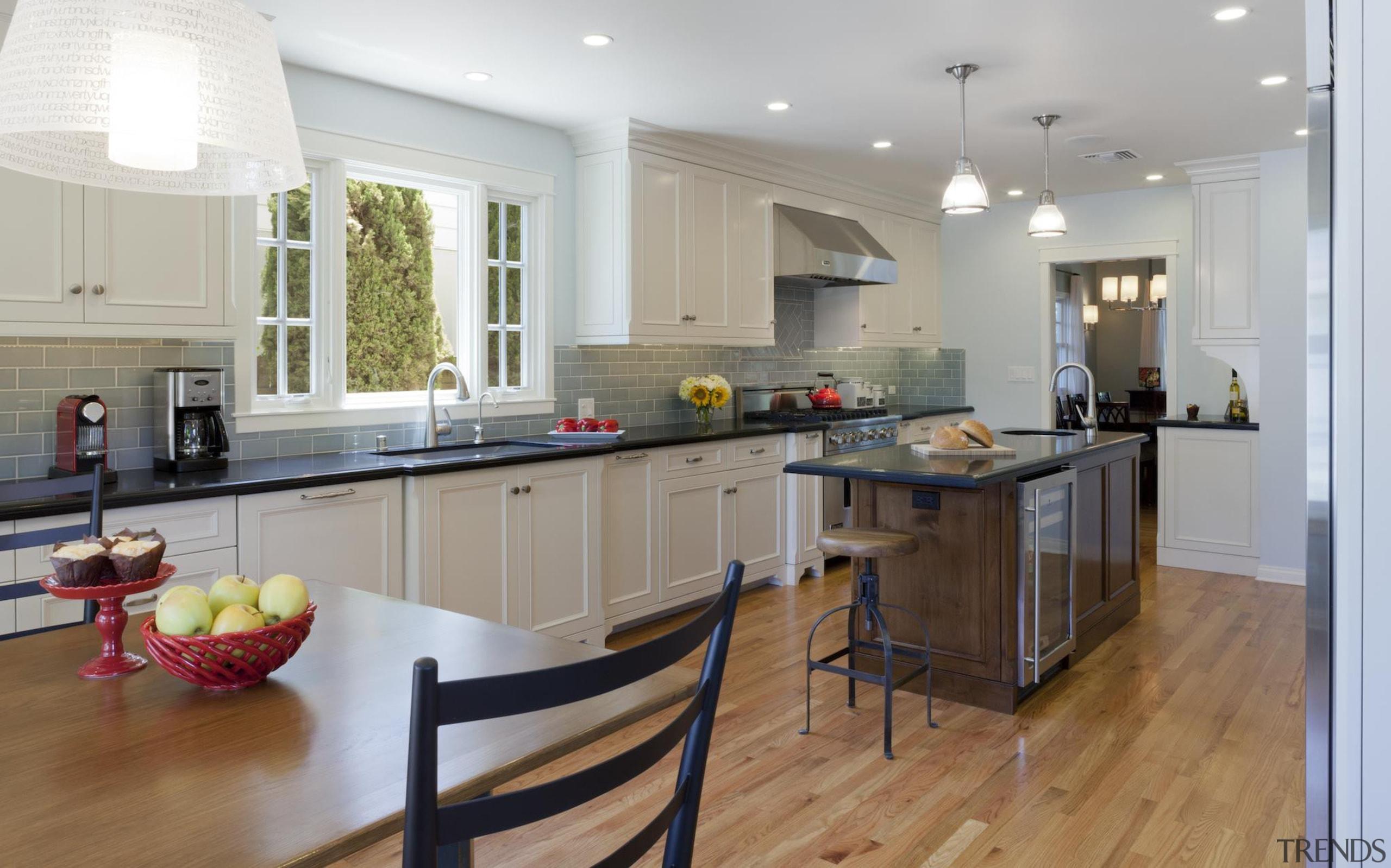 Transitional Kitchen - Transitional Kitchen - cabinetry   cabinetry, countertop, cuisine classique, floor, flooring, hardwood, interior design, kitchen, laminate flooring, real estate, room, wood flooring, gray