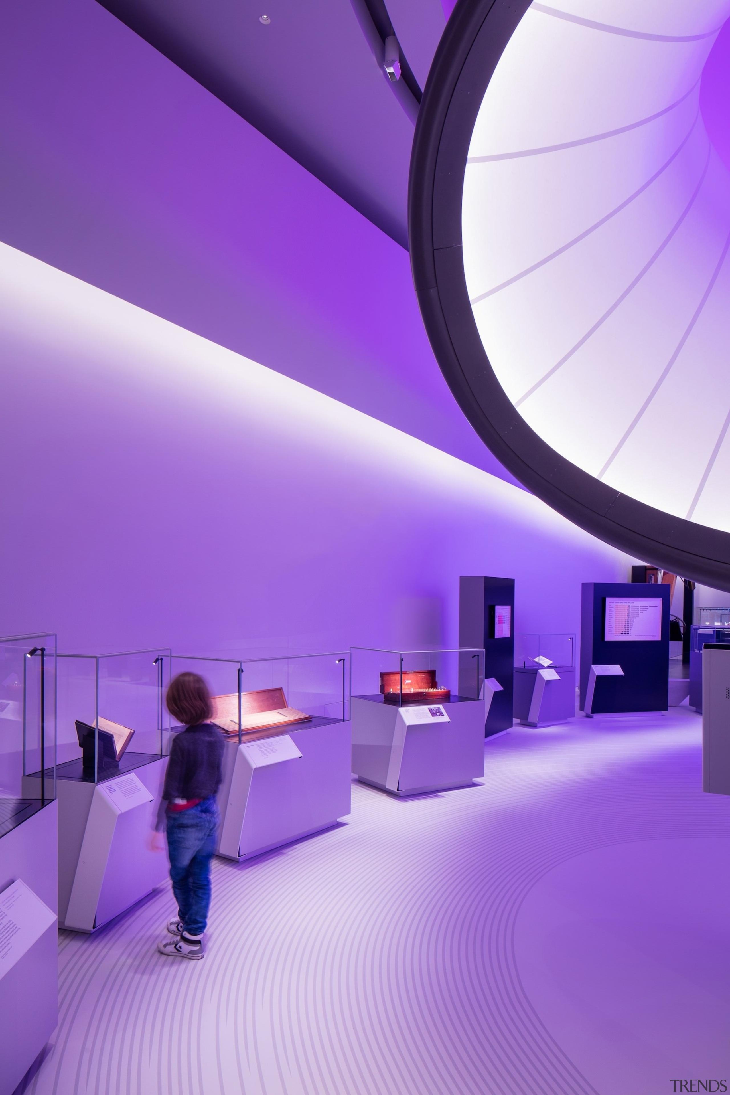Zaha Hadid – Mathematics: The Winton Gallery – architecture, ceiling, design, interior design, light, lighting, product design, purple, purple