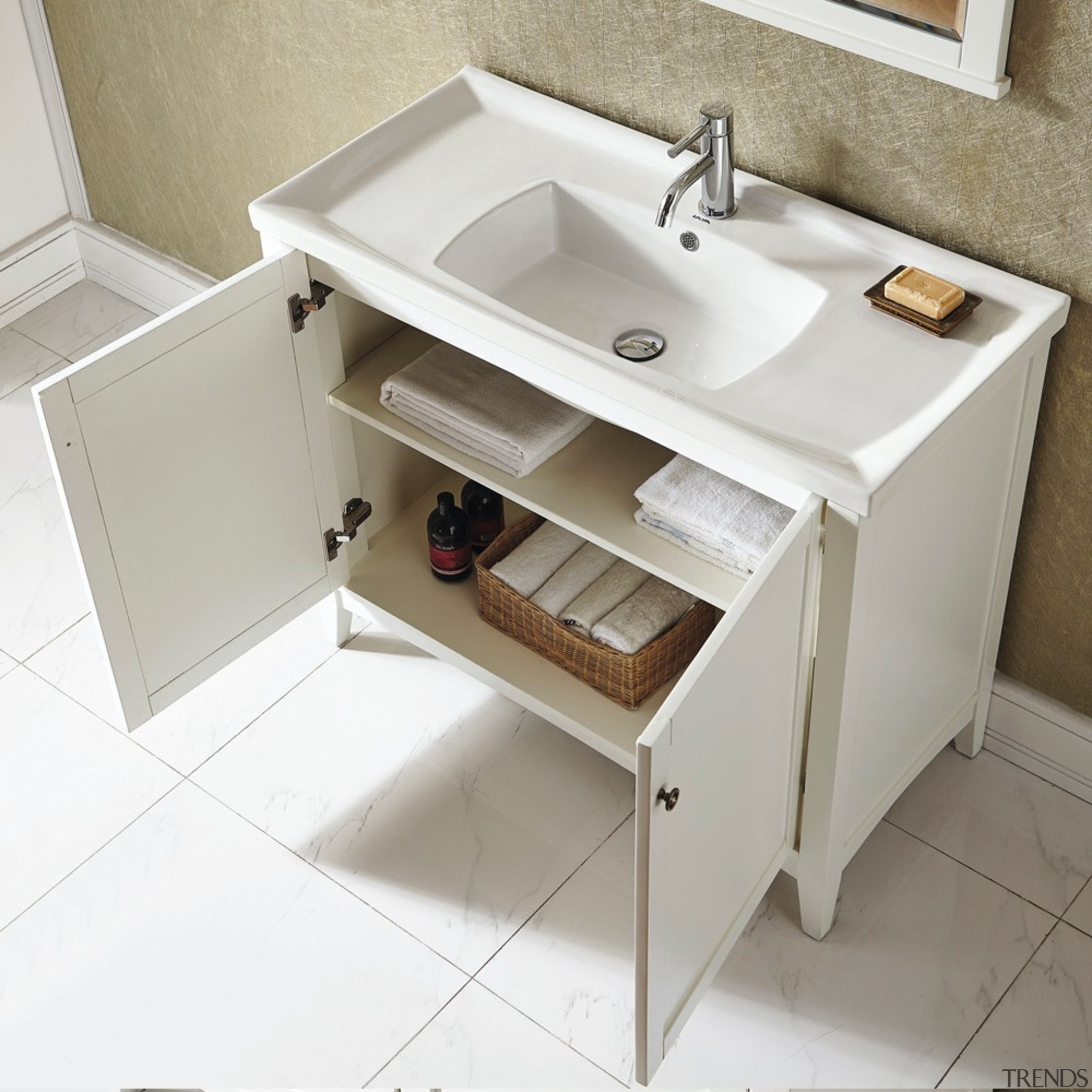 Trenz Bathroom was initially founded in 2003 in bathroom, bathroom accessory, bathroom cabinet, bathroom sink, furniture, plumbing fixture, product, sink, tap, gray, white