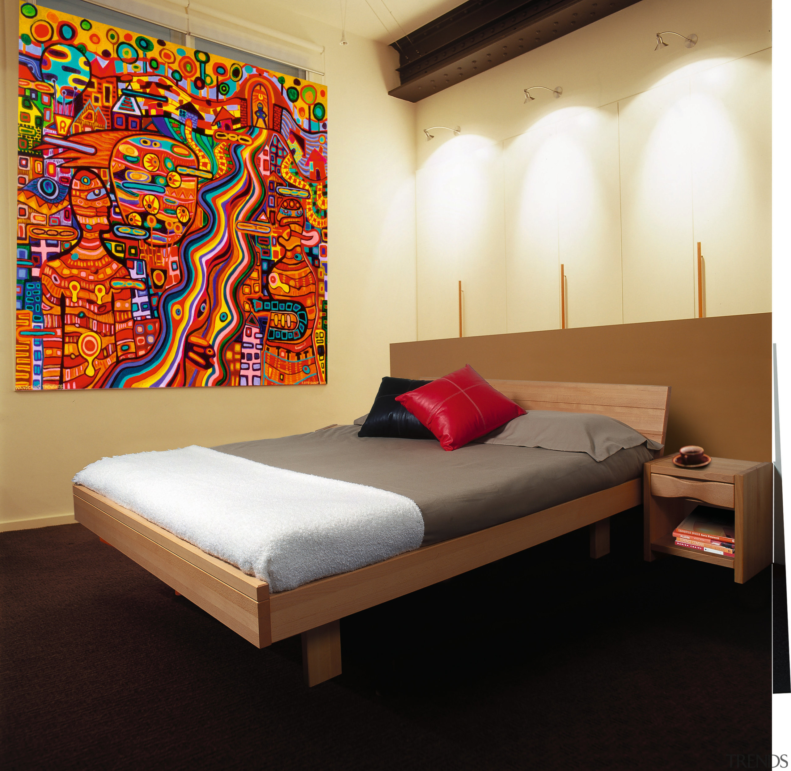 A bedroom with a Huesler nest bed with bed, bed frame, bed sheet, bedroom, ceiling, furniture, interior design, modern art, room, wall, black