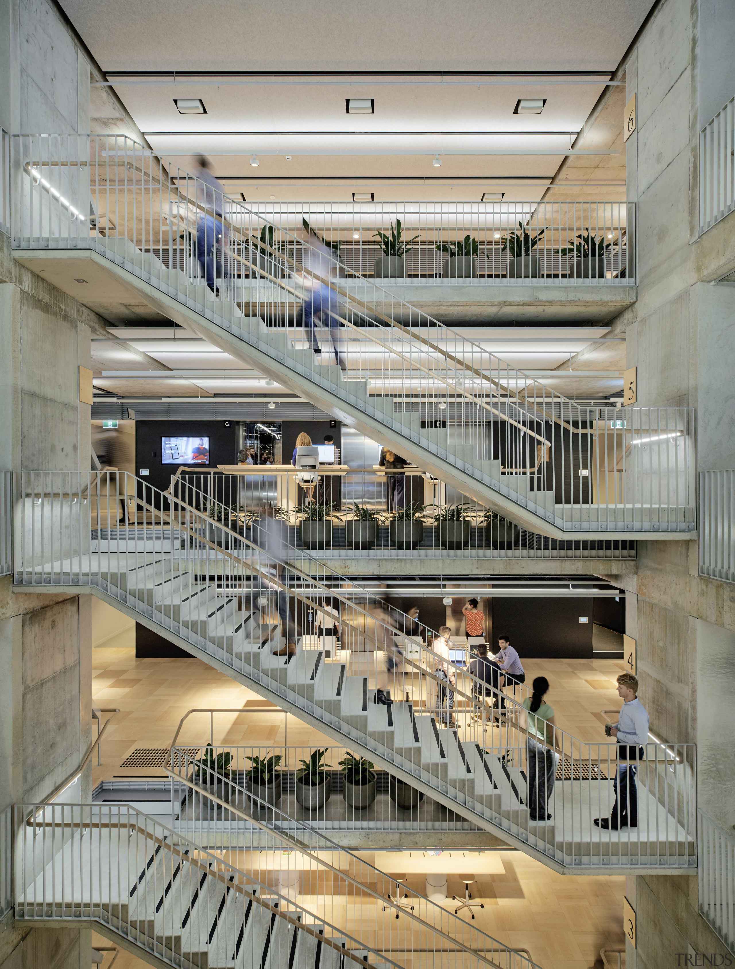Positioning the circulation staircase as a visual feature architecture, building, circulation staircase, Arup offices, open plan office floors