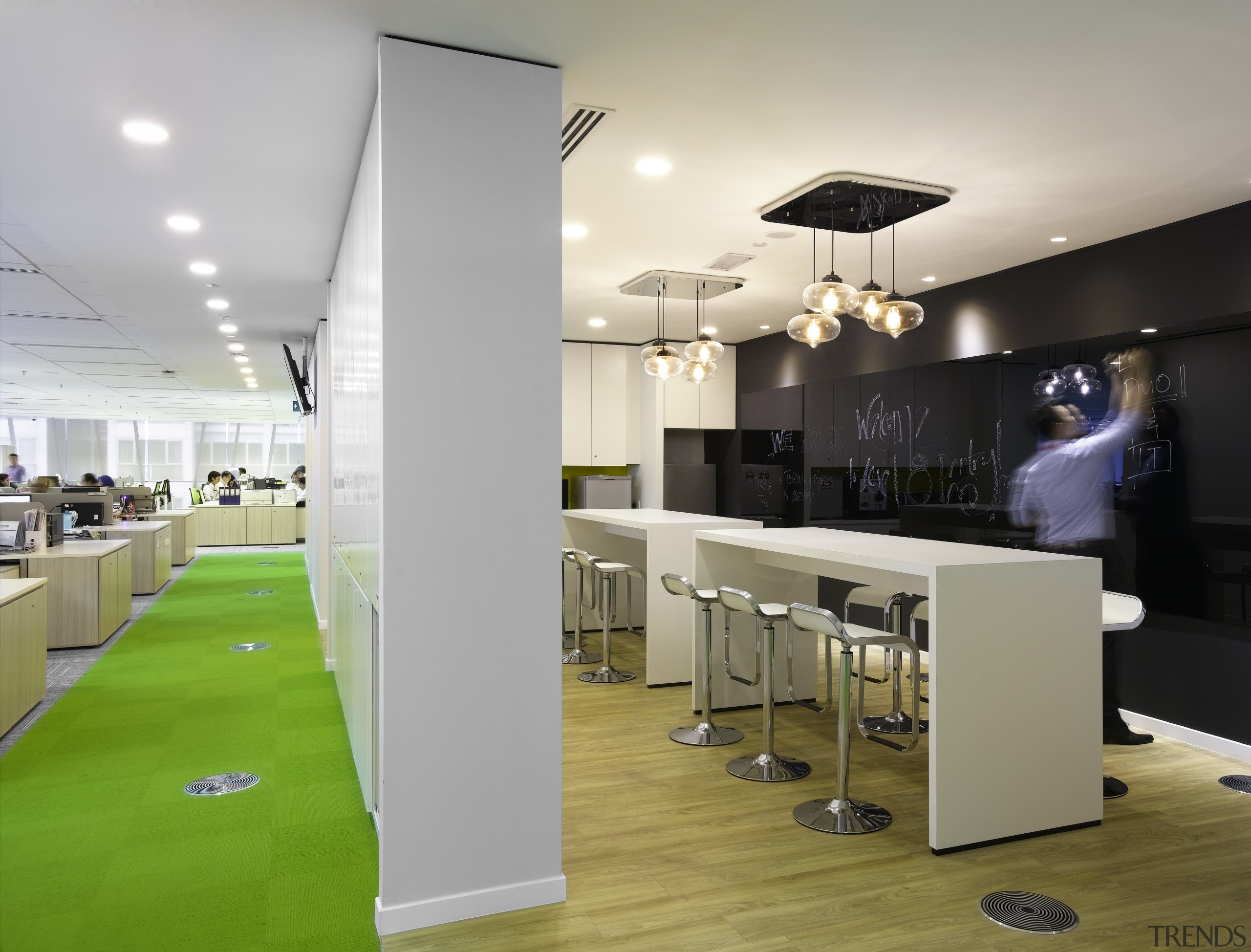 While the café on the communal floor of ceiling, interior design, office, gray