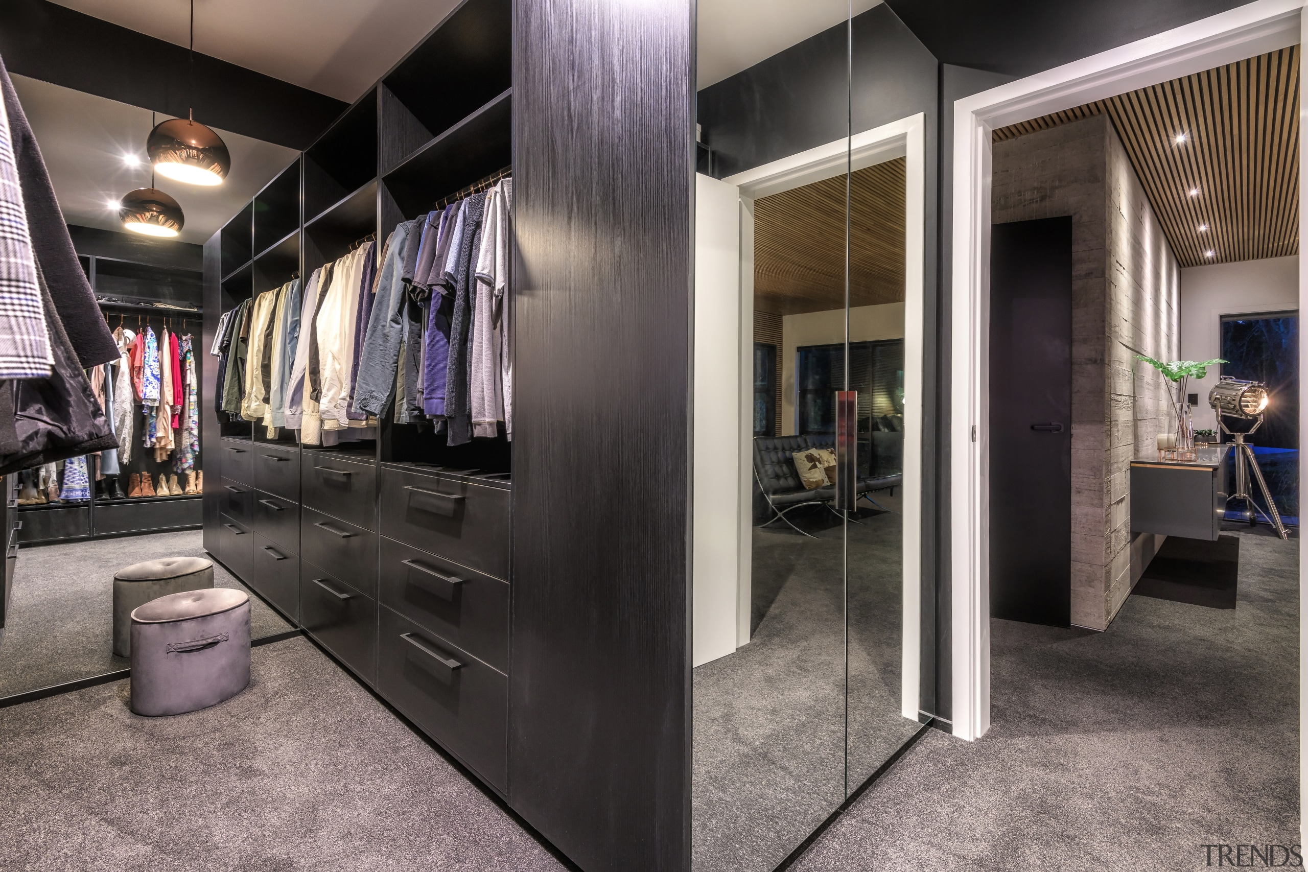 Full height mirrors help create a sense of interior design, home, house, master suite, closet, cabinetry, Kirsty Davis, dressing room