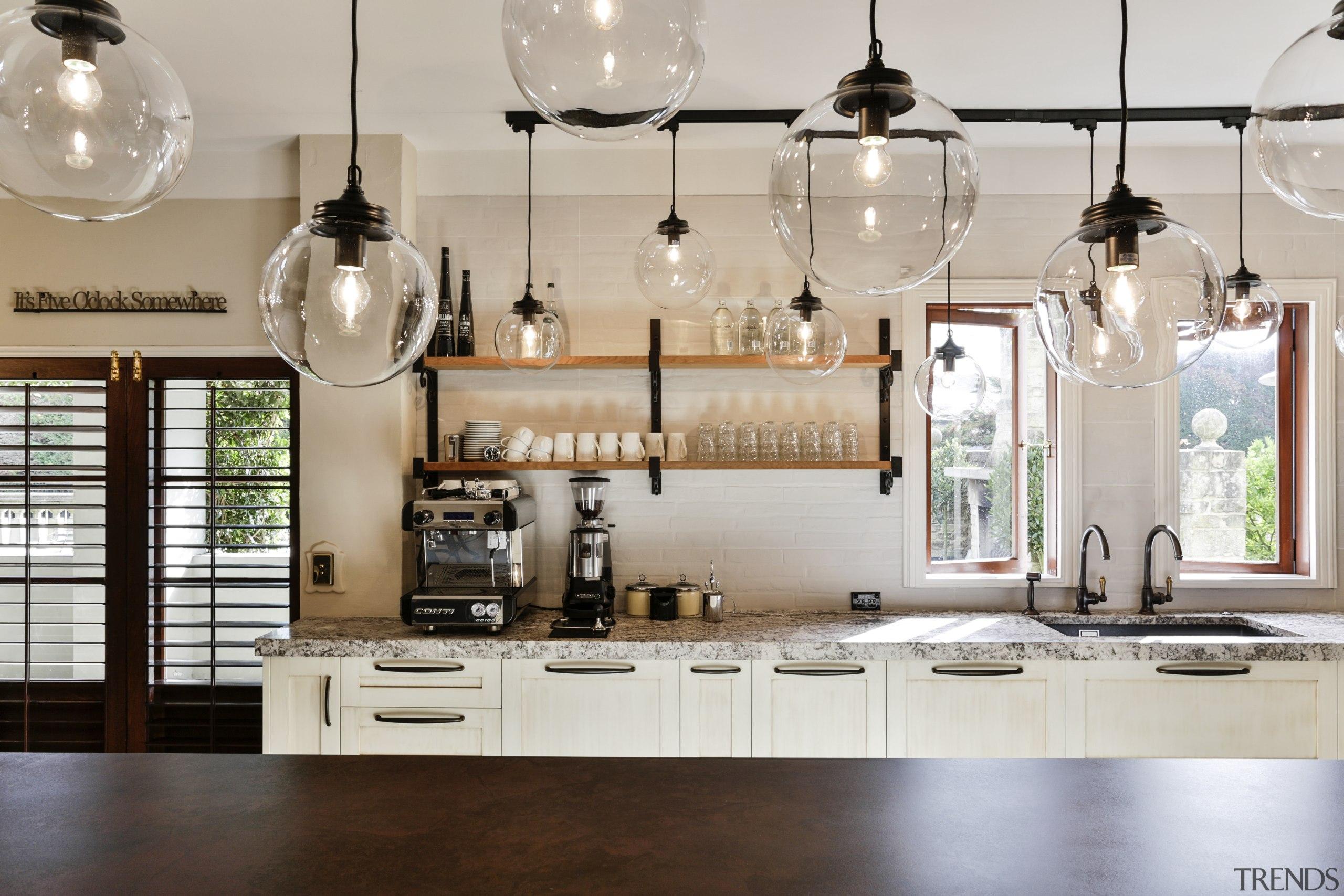 Feature pendant lights, wrought iron shelf brackets and ceiling, chandelier, countertop, cuisine classique, home, interior design, kitchen, light fixture, lighting, gray